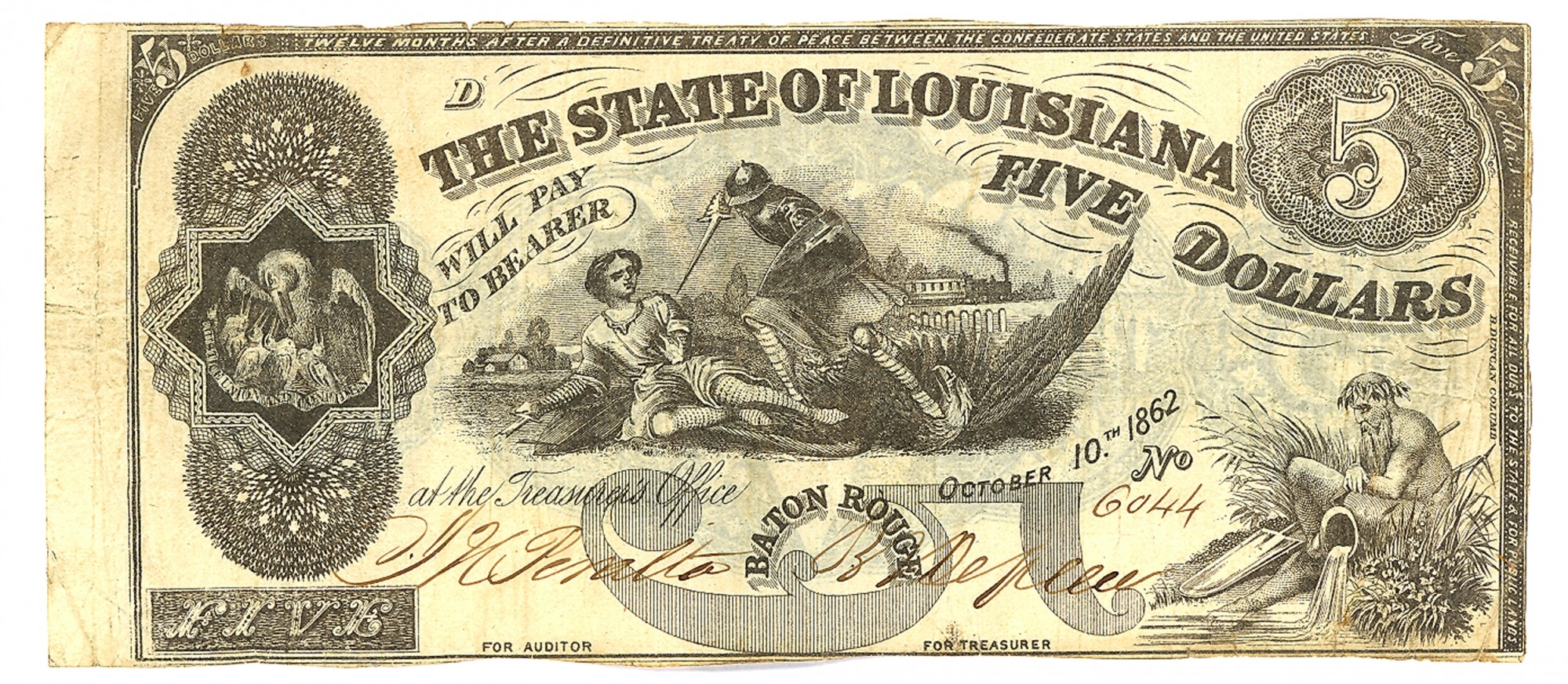 STATE OF LOUISIANA, BATON ROUGE, LOUSIANA, $5 NOTE