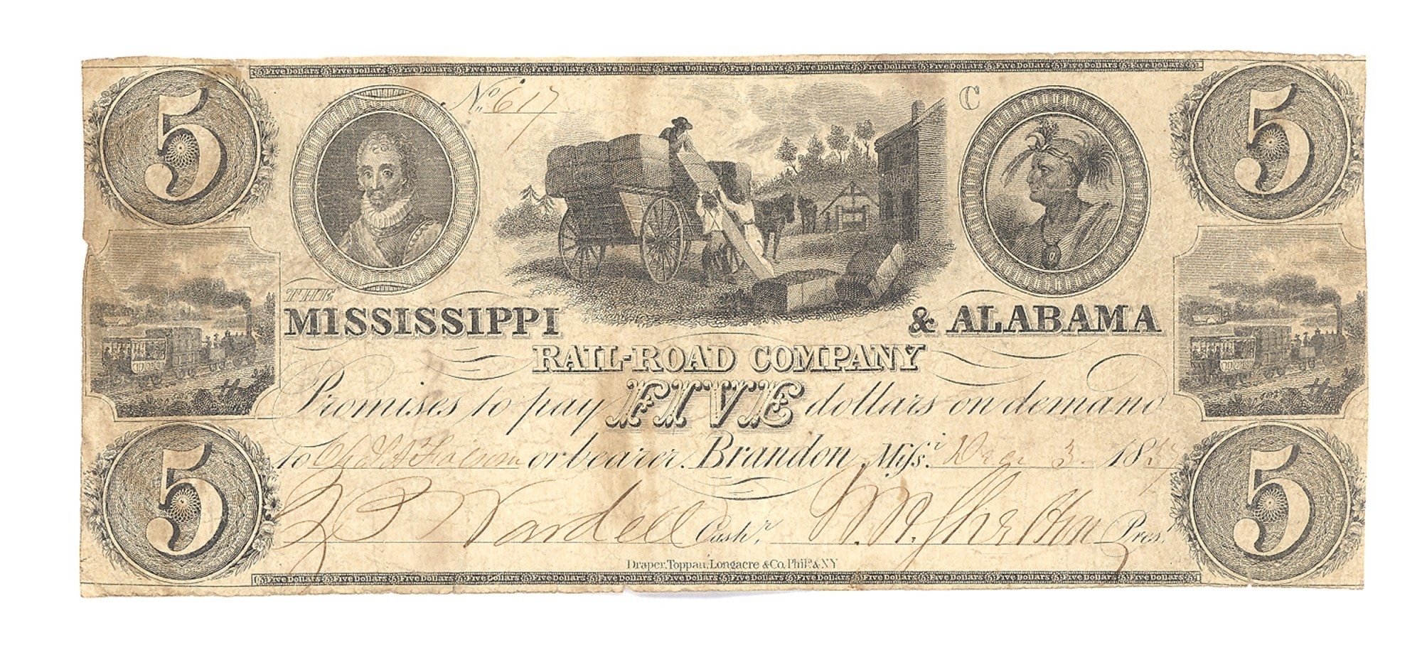 MISSISSIPPI & ALABAMA RAILROAD COMPANY, MISSISSIPPI, $5 NOTE