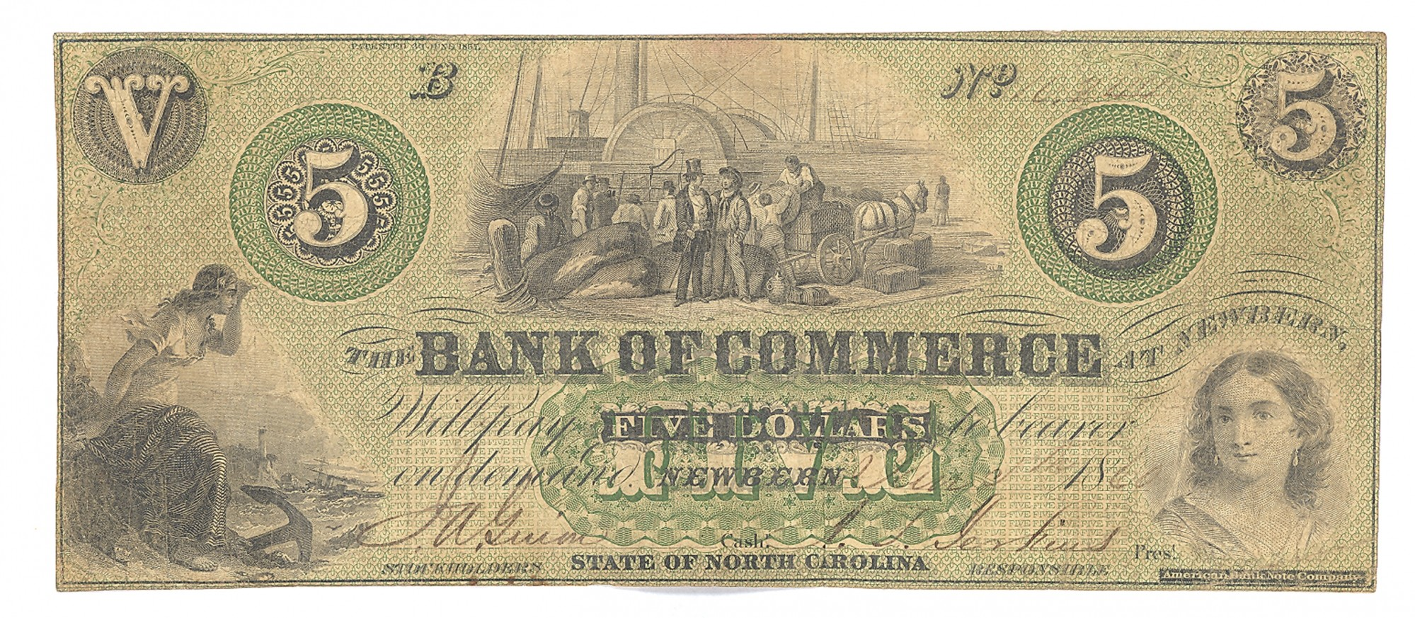 BANK OF COMMERCE, NORTH CAROLINA $5 NOTE