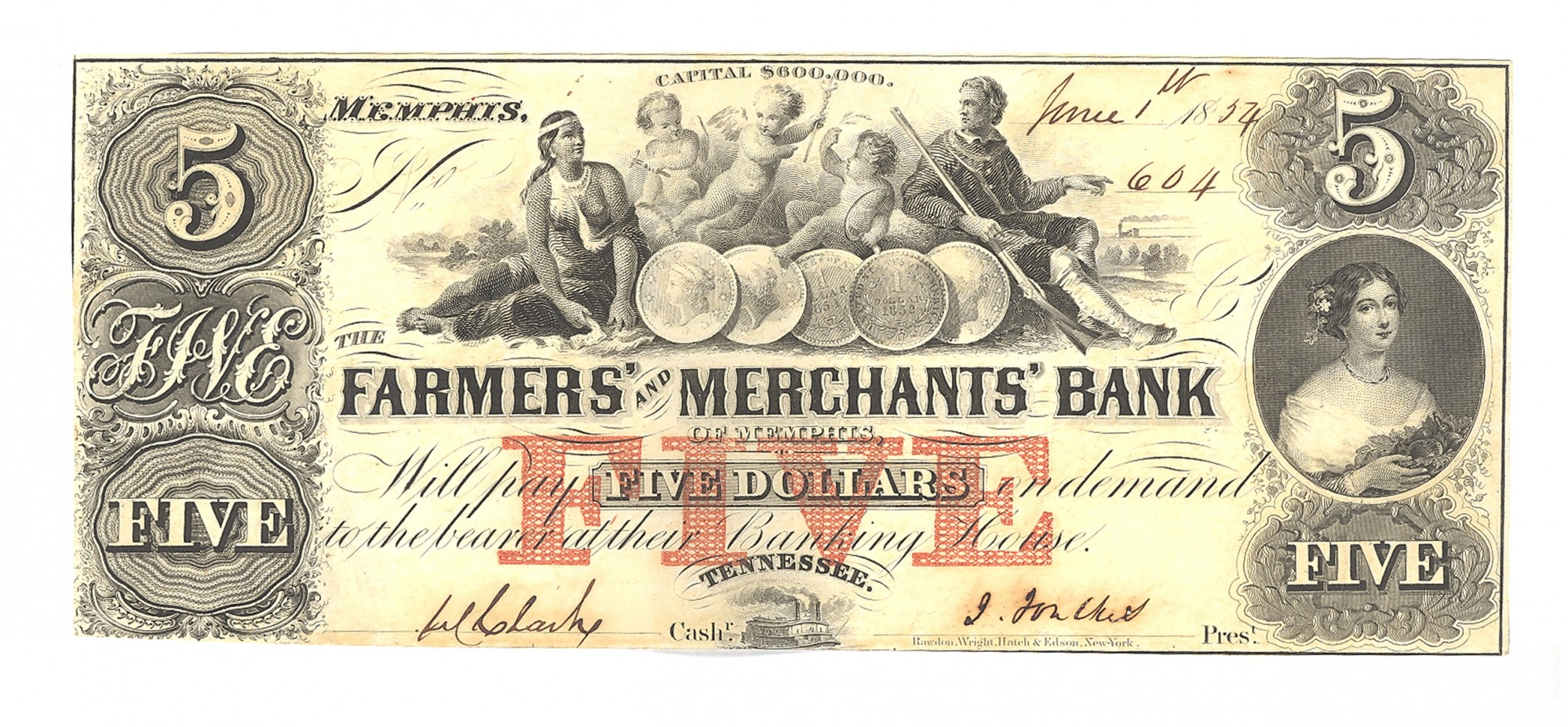FARMERS AND MERCHANTS BANK, MEMPHIS, TENNESSEE $5 NOTE