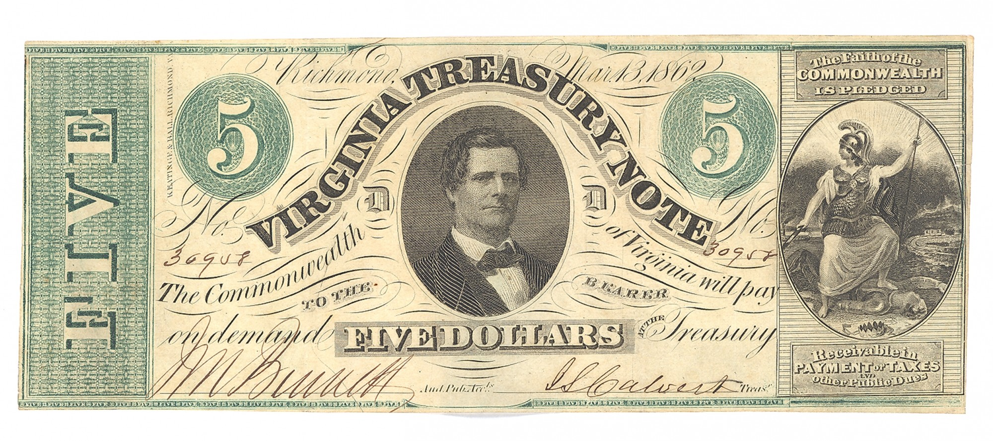 VIRGINIA TREASURY NOTE, RICHMOND, VIRGINIA $5 NOTE