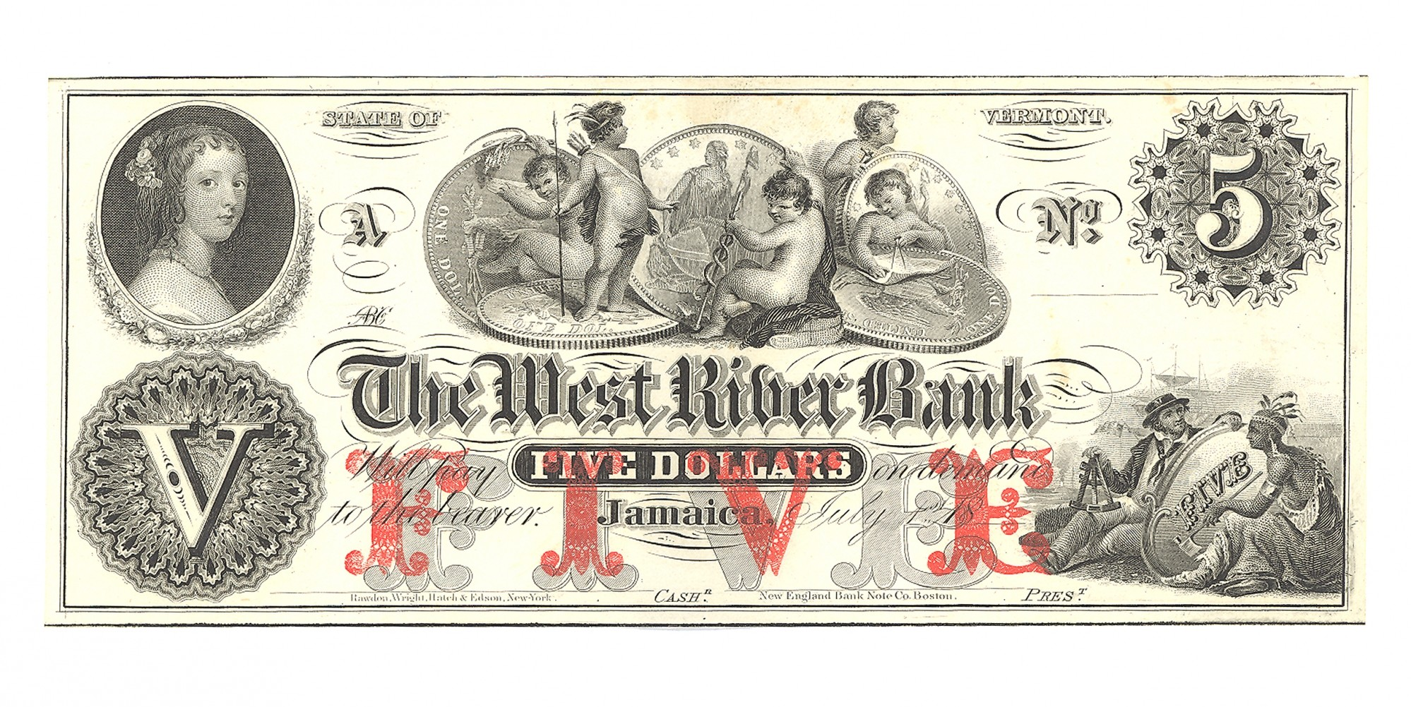 THE WEST RIVER BANK, JAMAICA, VERMONT, $5 NOTE