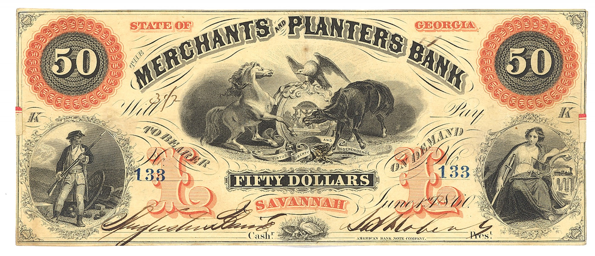 MERCHANTS AND PLANTERS BANK, SAVANNAH, GEORGIA, $50 NOTE