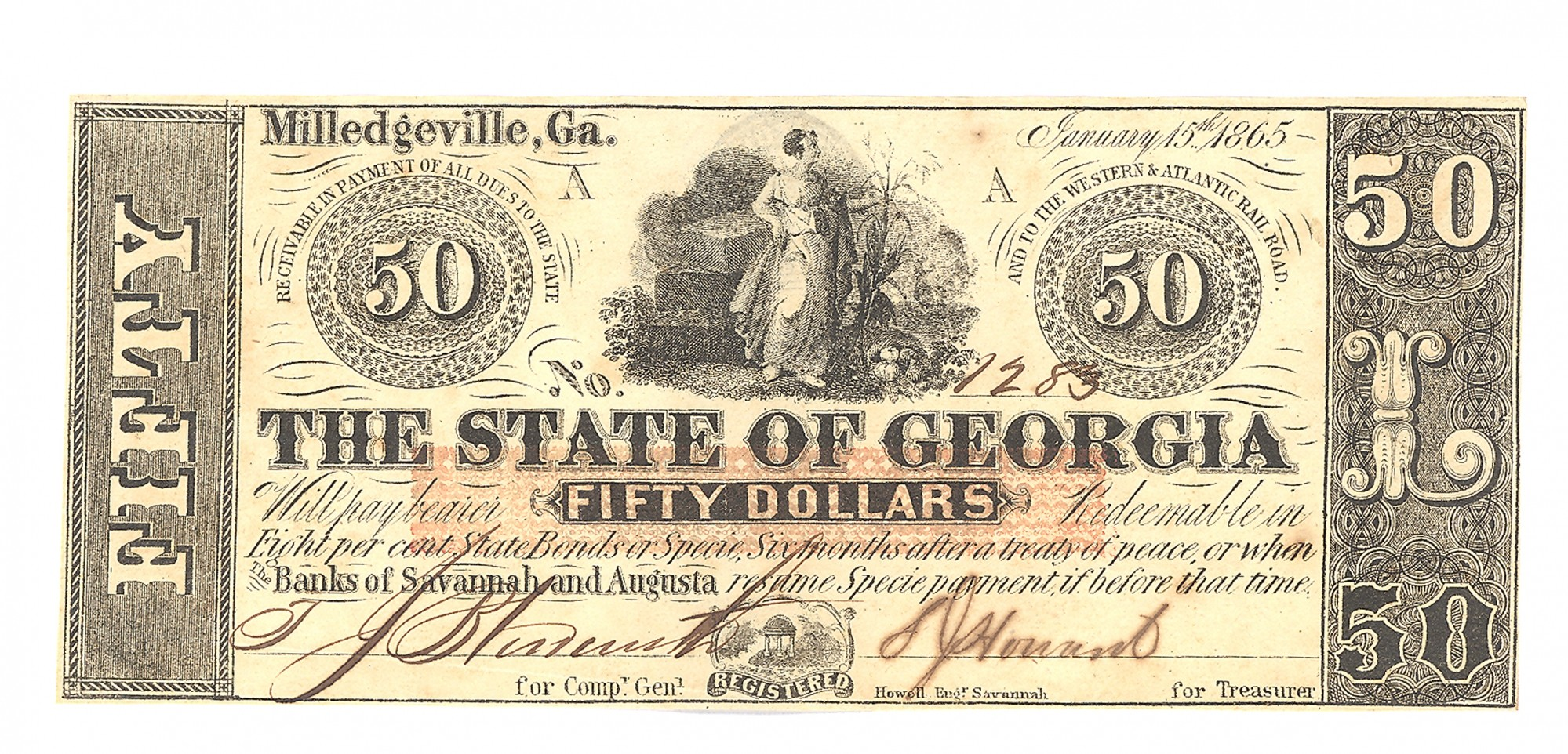 THE STATE OF GEORGIA, GEORGIA, $50 NOTE