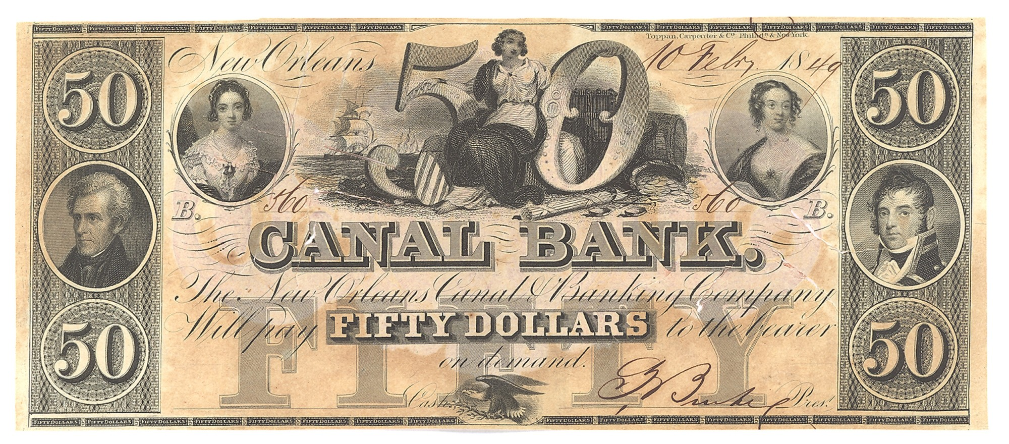 CANAL BANK, LOUSIANA, $50 NOTE