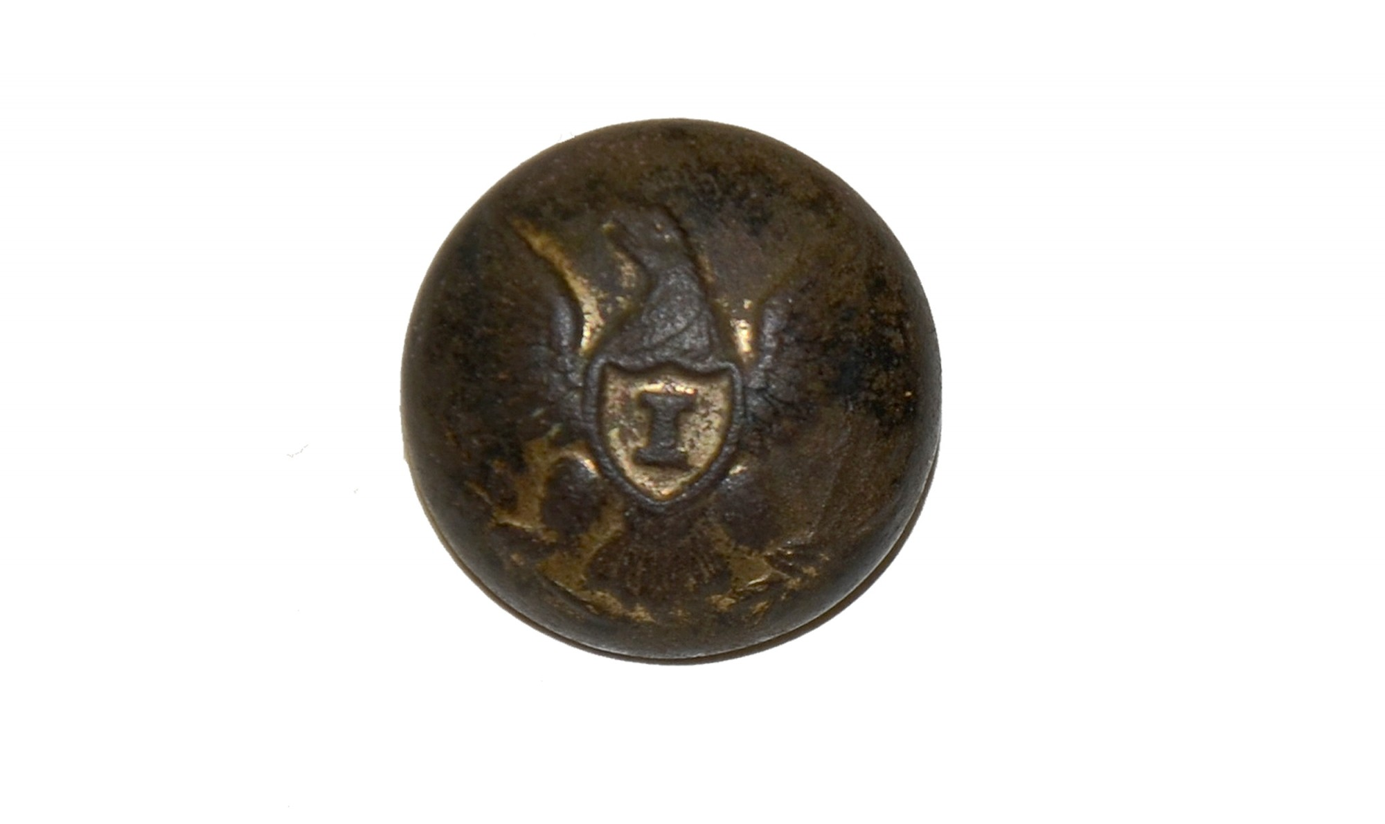 "US INFANTRY ""I"" OFFICER'S CUFF BUTTON, RECOVERED FROM ROSE FARM WOODS, GETTYSBURG"