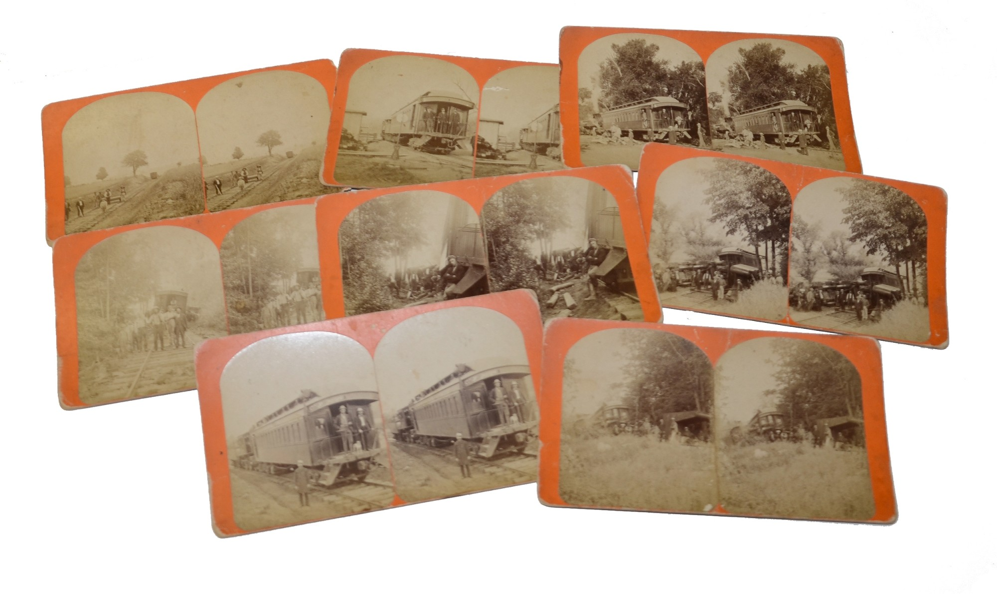 EIGHT RAILROAD STEREOVIEW CARDS