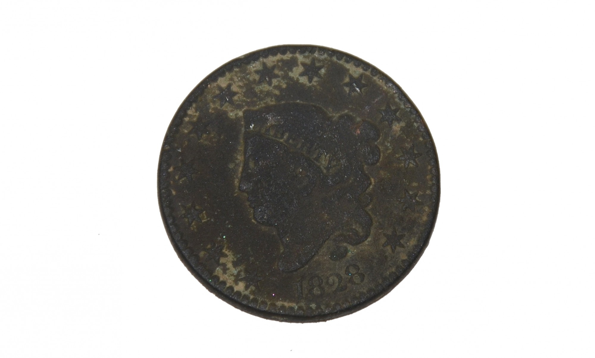 LADY LIBERTY PENNY, DATED 1828, RECOVERED FROM TROSTLE FARM, GETTYSBURG