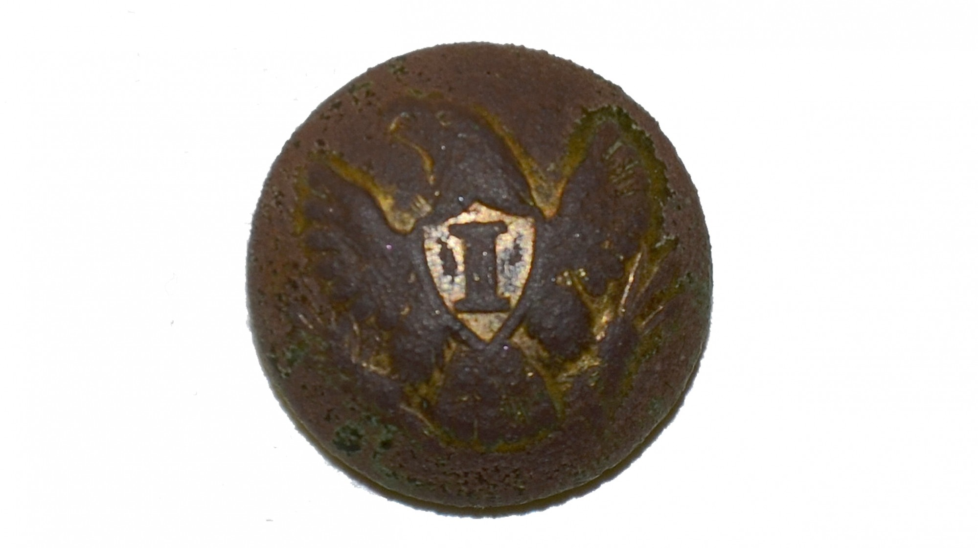 "US INFANTRY ""I"" OFFICER'S CUFF BUTTON, RECOVERED FROM TROSTLE FARM WOODS, GETTYSBURG"