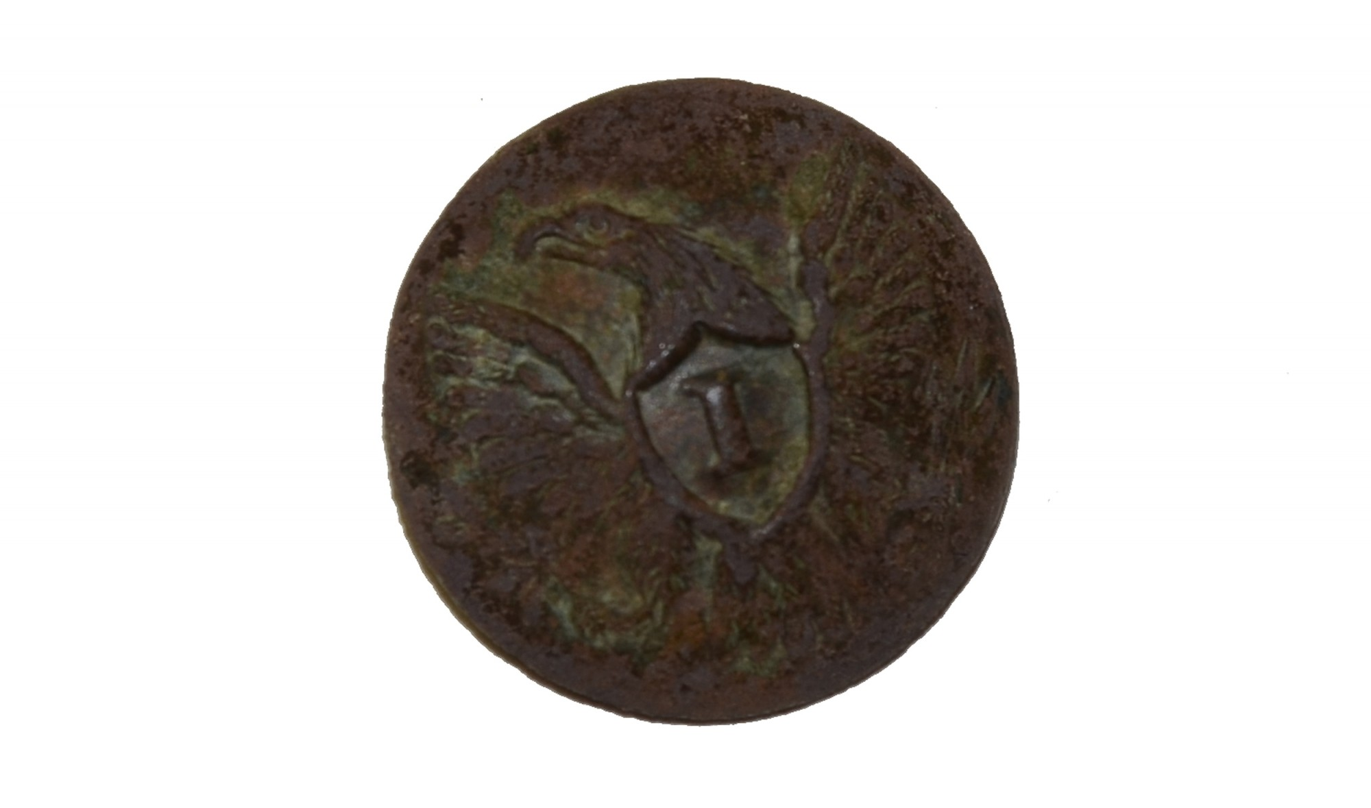 "US ""I"" OFFICER JACKET BUTTON, RECOVERED FROM SHERFY FARM YARD, GETTYSBURG"