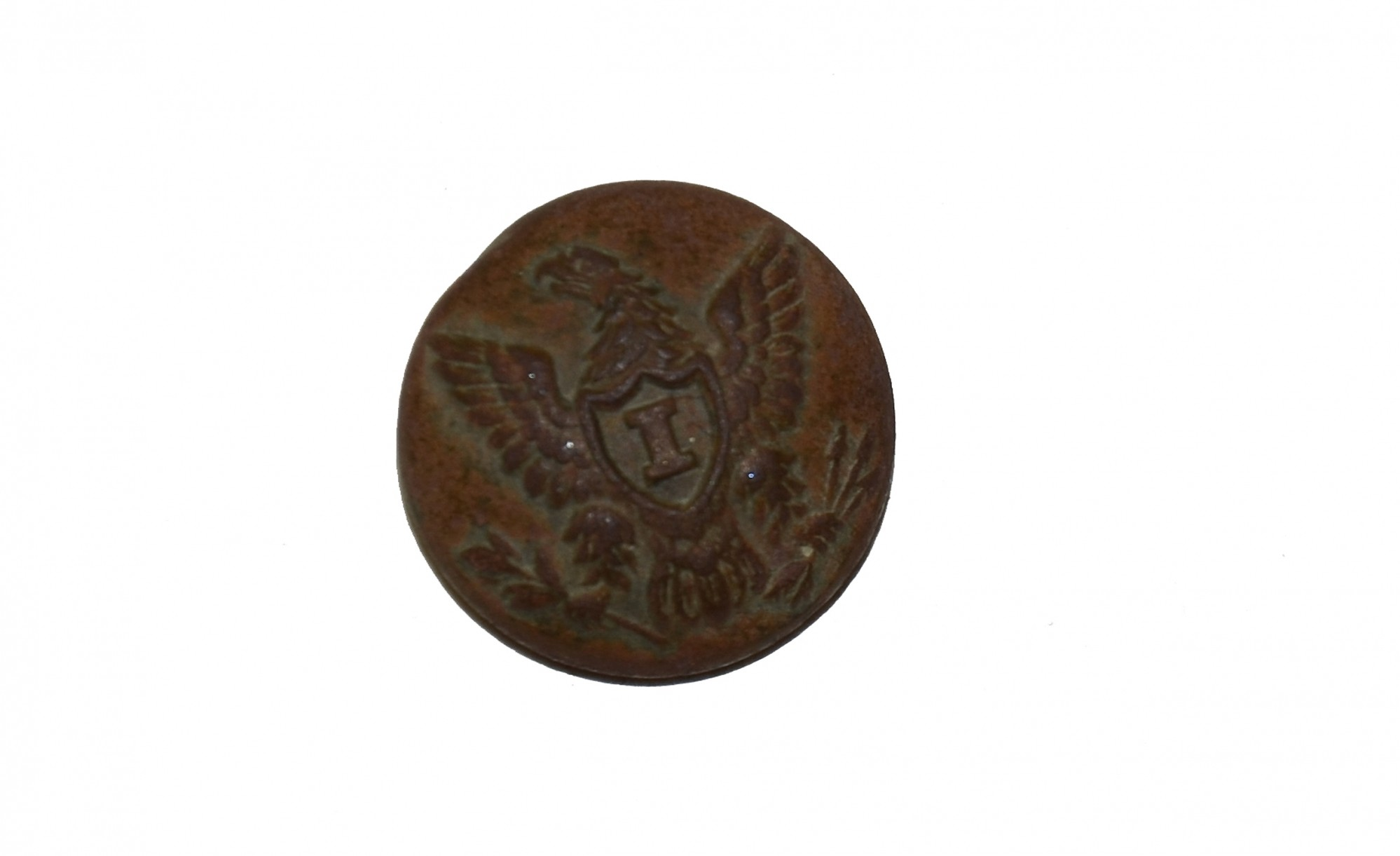 "US INFANTRY ""I"" OFFICER'S CUFF BUTTON, RECOVERED FROM ROSE FARM, GETTYSBURG"