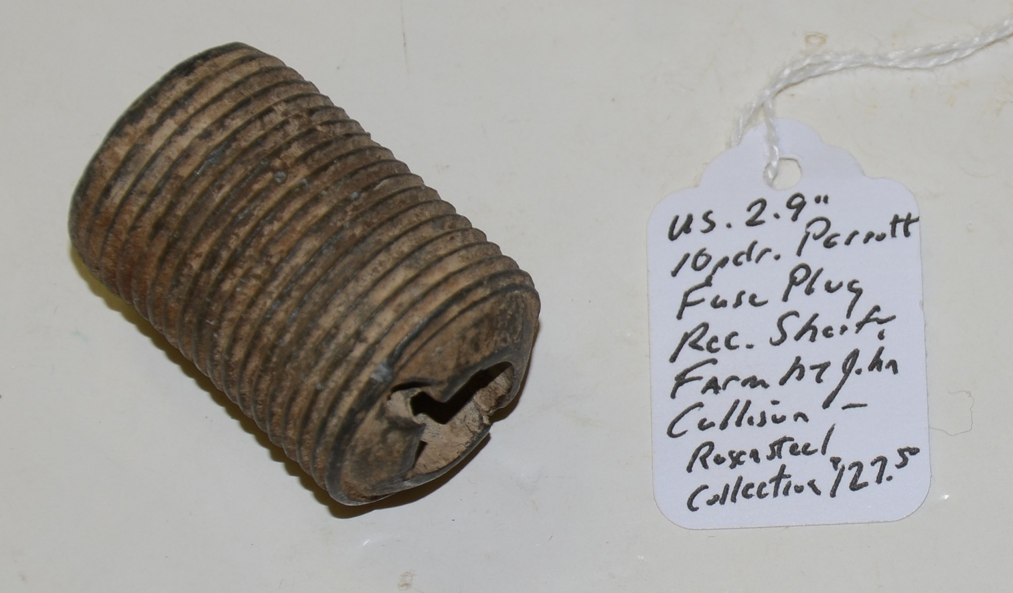 "US 2.9"" 10 PDR PARROTT FUSE PLUG RECOVERED ON THE SHERFY FARM, GETTYSBURG"