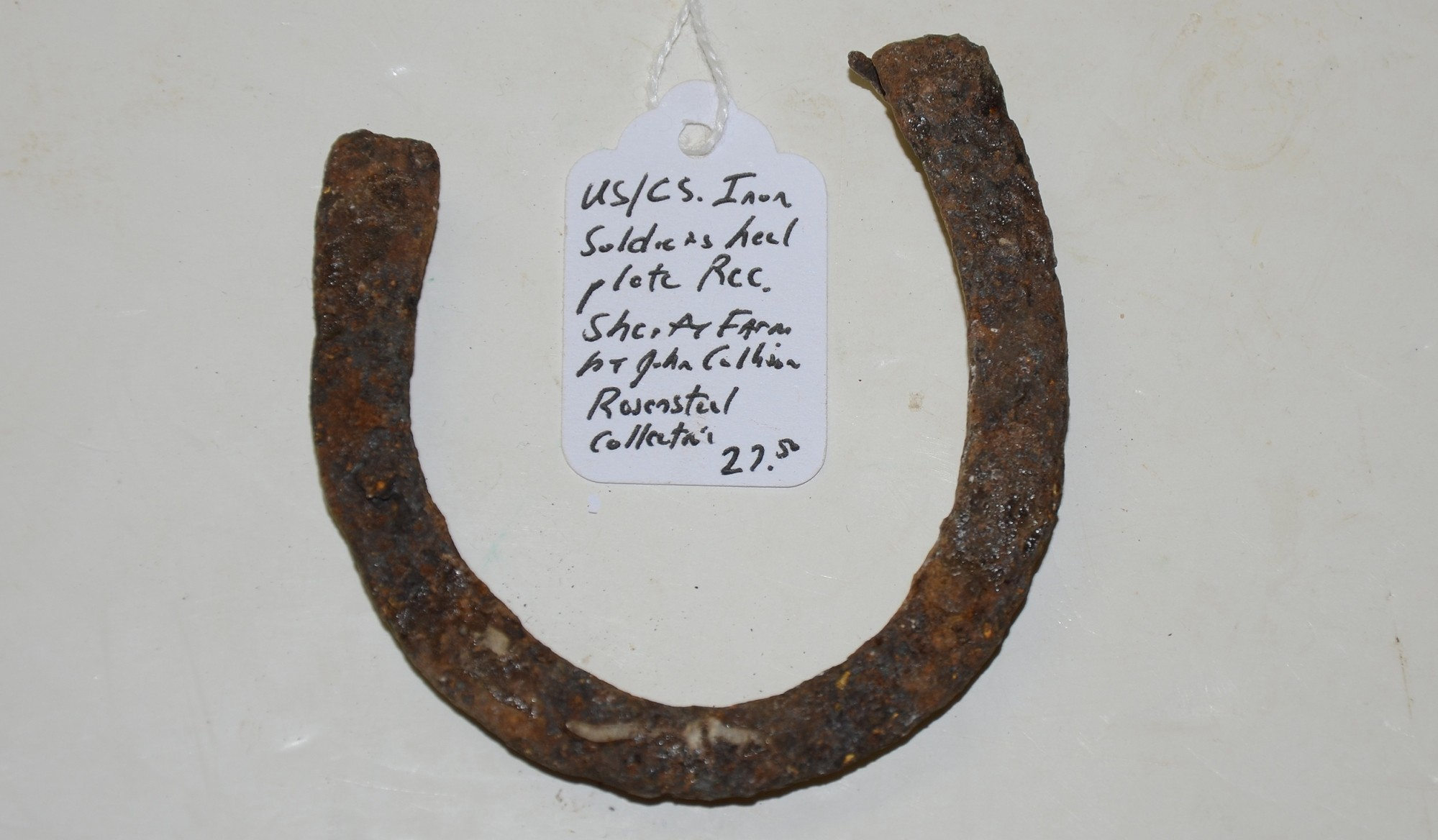 US/CS IRON SOLDIER'S HEEL PLATE RECOVERED ON THE SHERFY FARM, GETTYSBURG