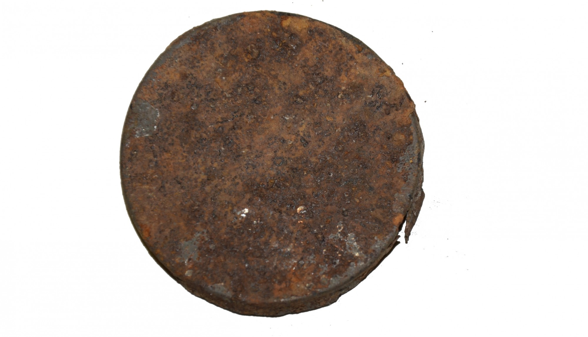 LID FROM PERCUSSION CAP TIN RECOVERED ON THE SHERFY FARM, GETTYSBURG