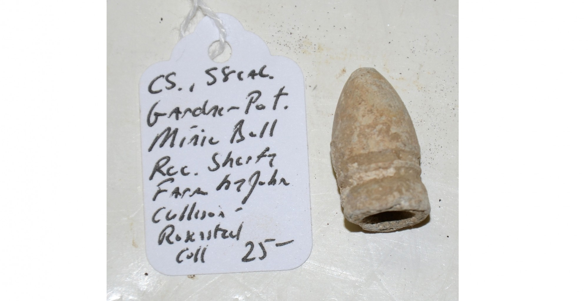 CS .58 CAL GARDNER PATENT MINIE BALL RECOVERED ON THE SHERFY FARM, GETTYSBURG