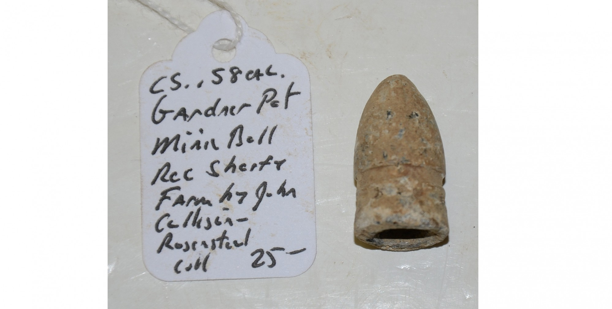 CS .58 CAL. GARDNER PATENT MINIE BALL RECOVERED ON THE SHERFY FARM, GETTYSBURG