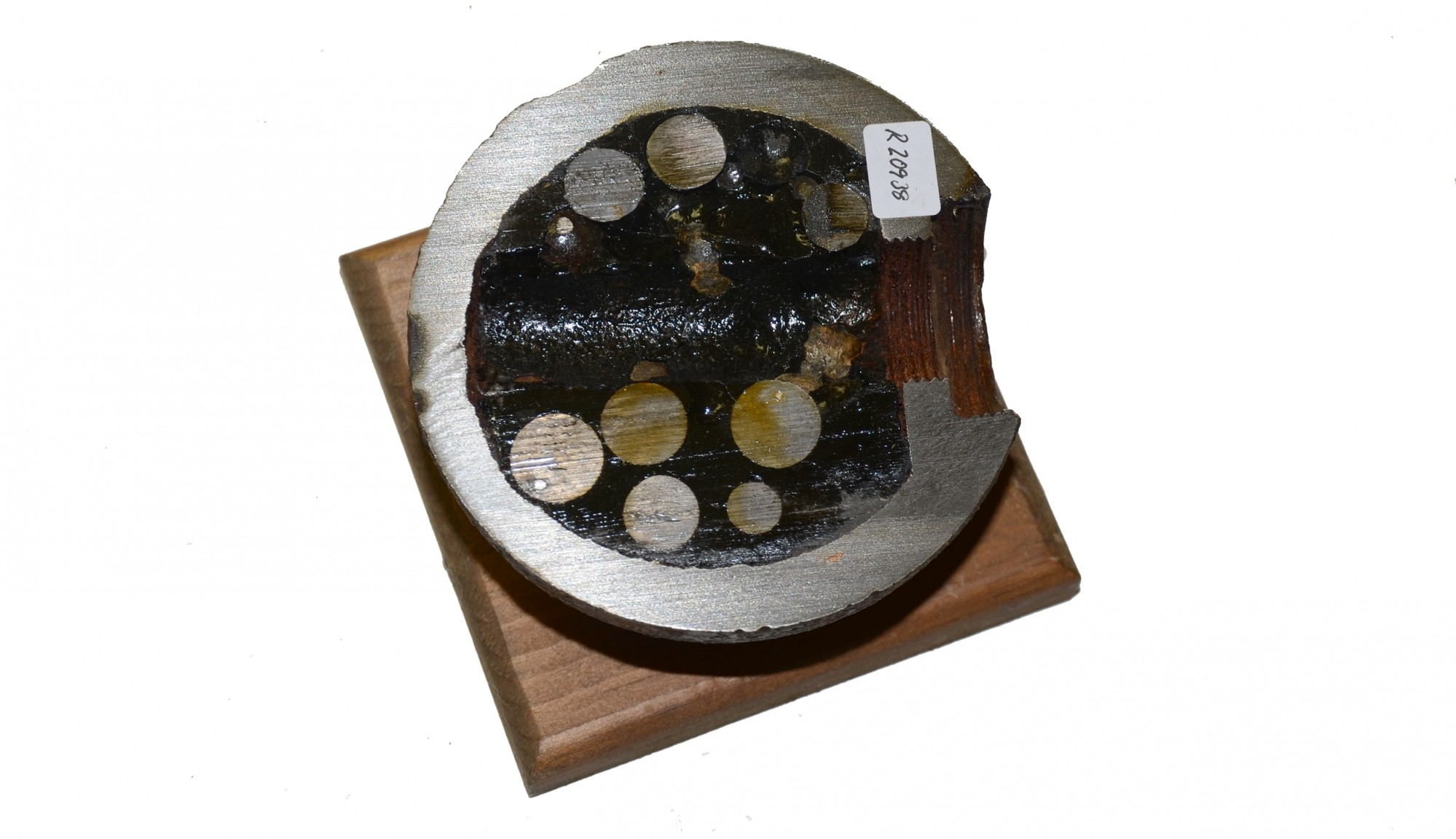 SECTIONED US 12 POUND SPHERICAL CASE-SHOT SHELL