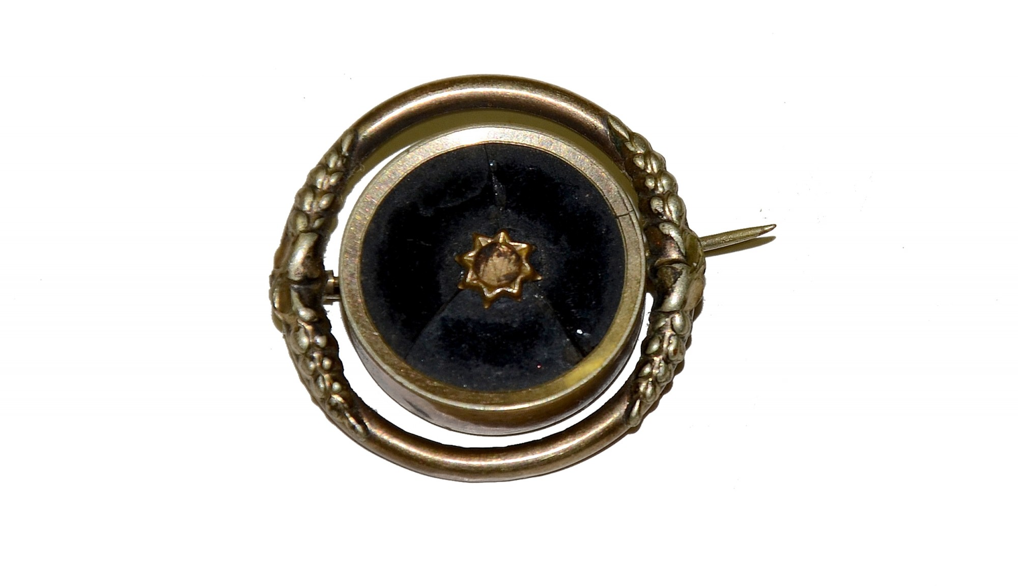 MOURNING PIN WITH LOCKET OF WOVEN HAIR
