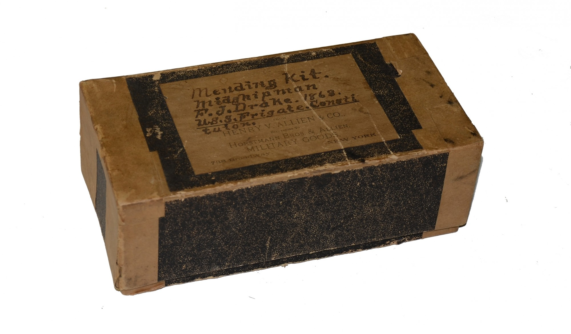 BOX OF NAVAL SEWING ITEMS BELONGING TO F.J. DRAKE, U.S.S. CONSITUTION, DATED 1863