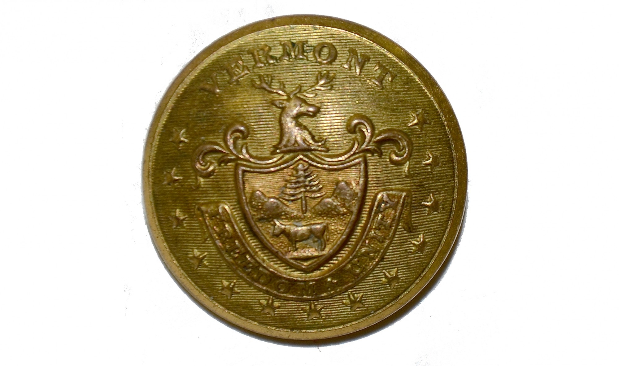 VERMONT STATE SEAL COAT BUTTON
