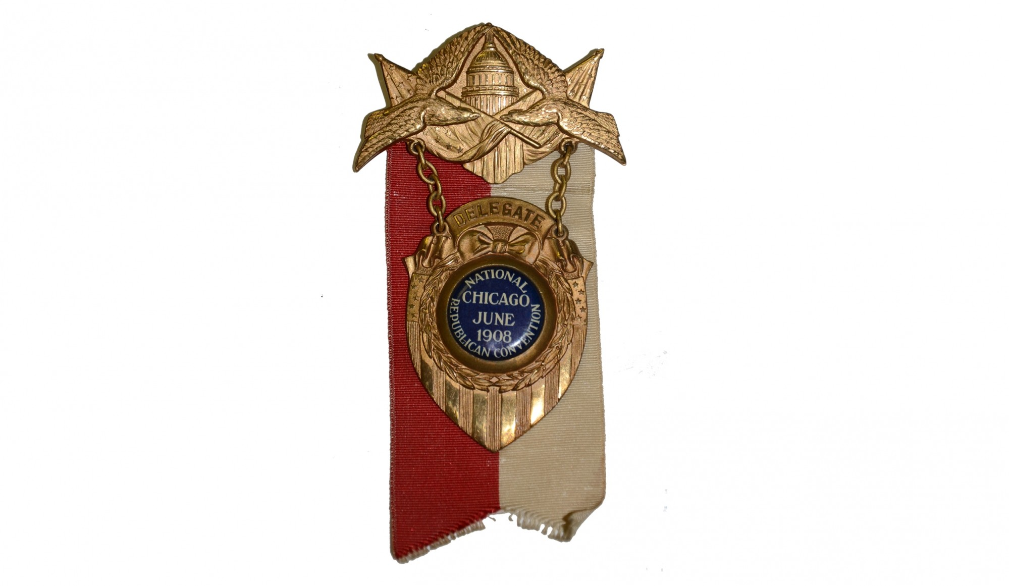 1908 REPUBLICAN NATIONAL CONVENTION DELEGATE BADGE