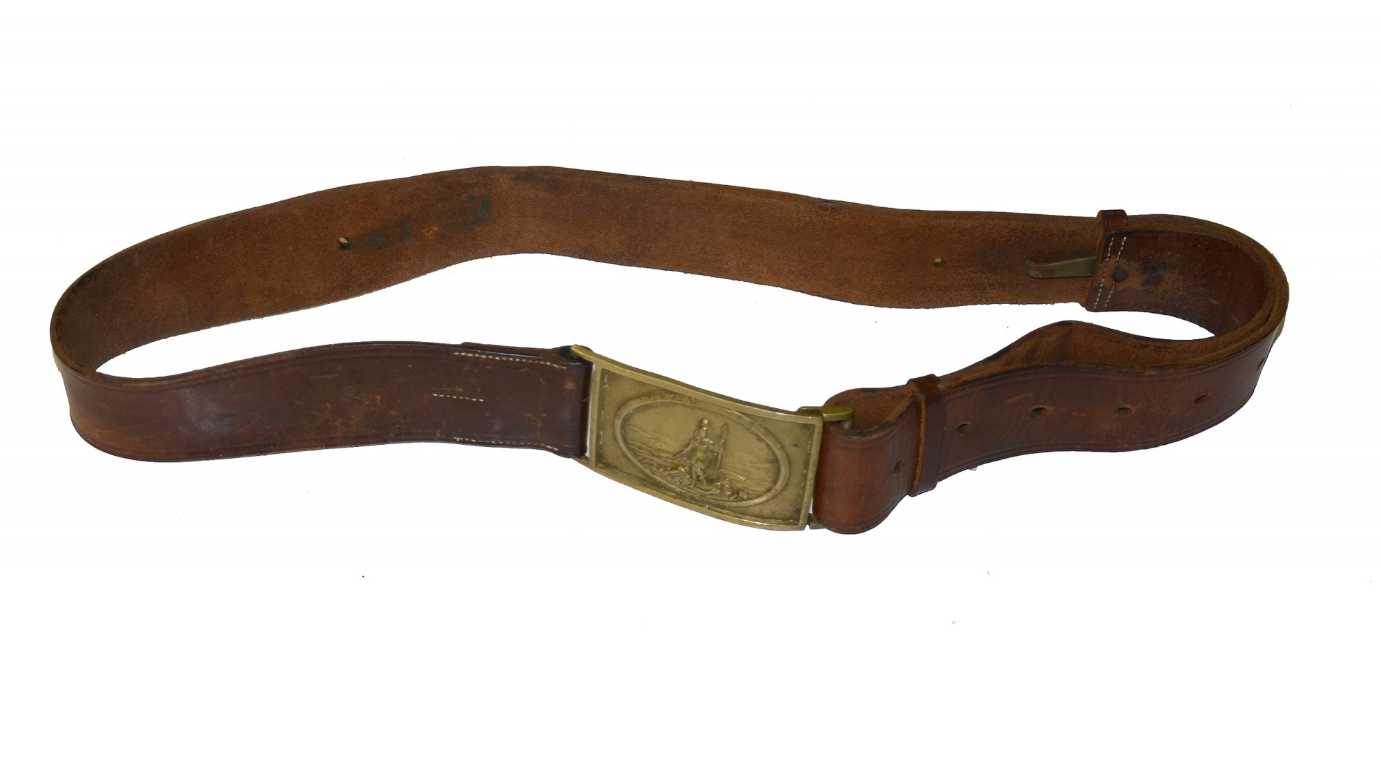 VIRGINIA RECTANGULAR SWORD BELT PLATE ON POST-WAR BROWN LEATHER BELT