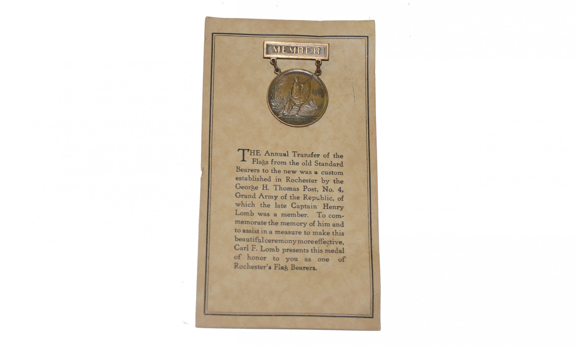ROCHESTER NEW YORK GAR STANDARD BEARERS MEDAL ON ORIGINAL CARD