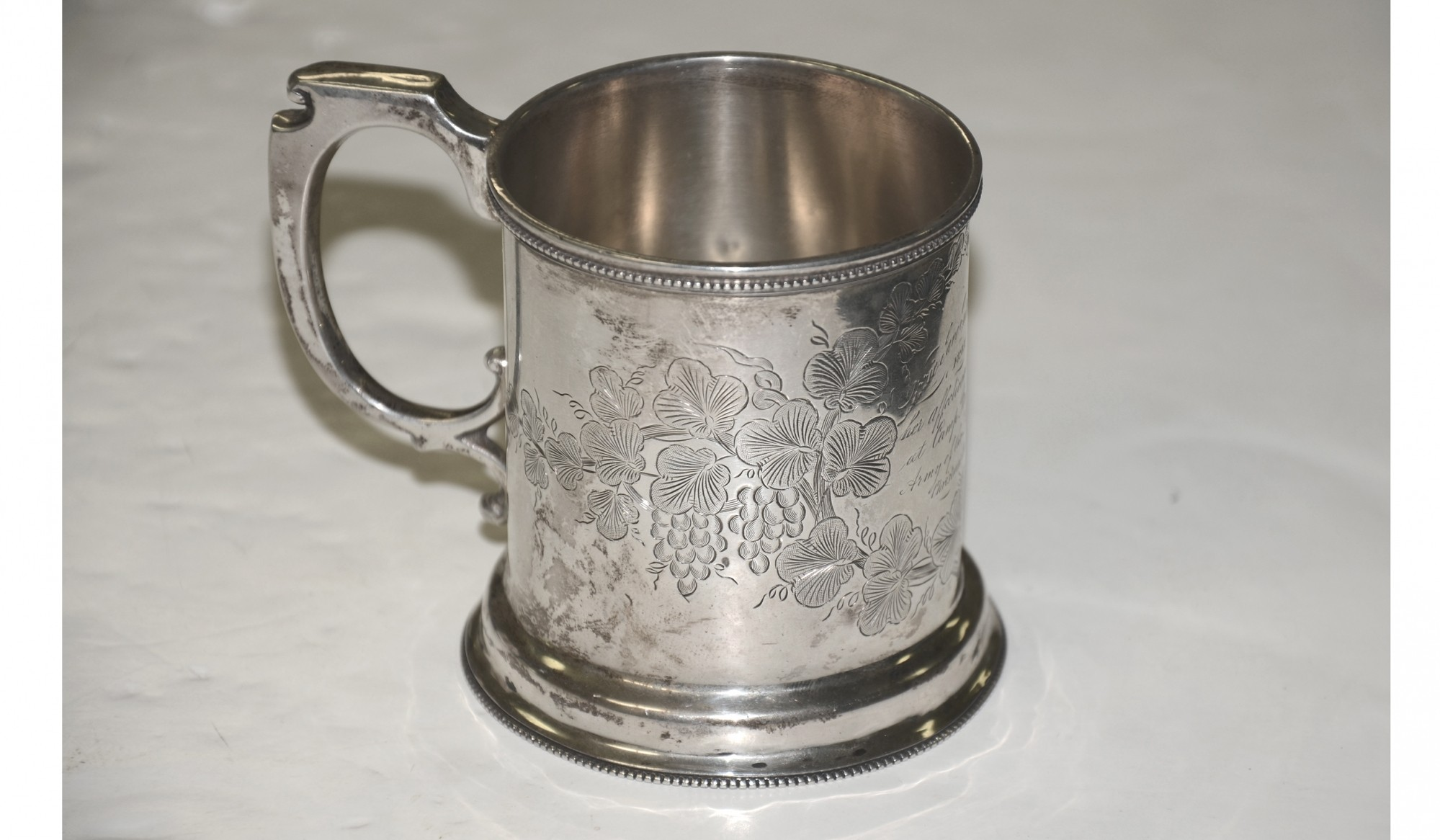 SILVER PRESENTATION CUP FROM MAJ. DEXTER PARKER TO HIS DAUGHTER LIZZIE, DATED 1861