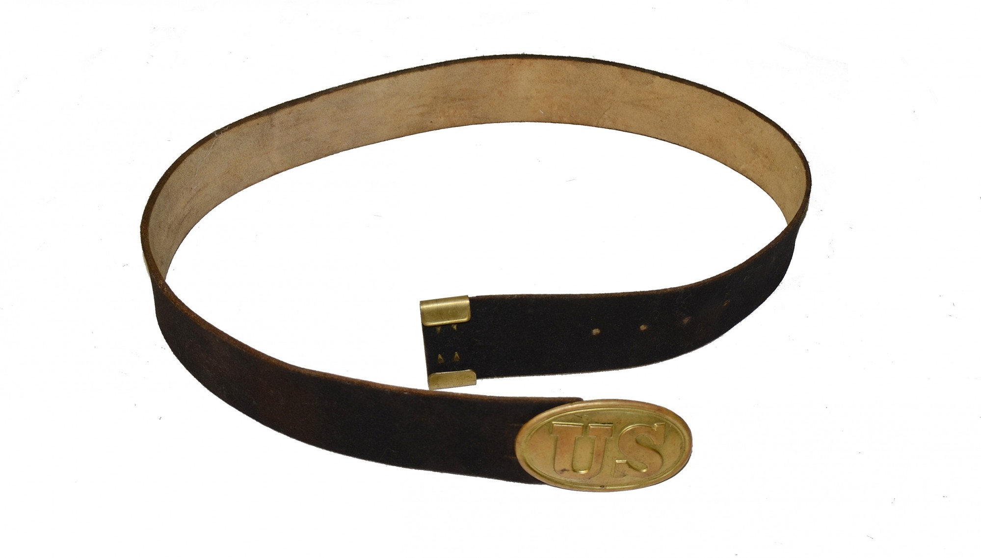 US BUFF LEATHER WAIST BELT WITH KEEPER AND PLATE