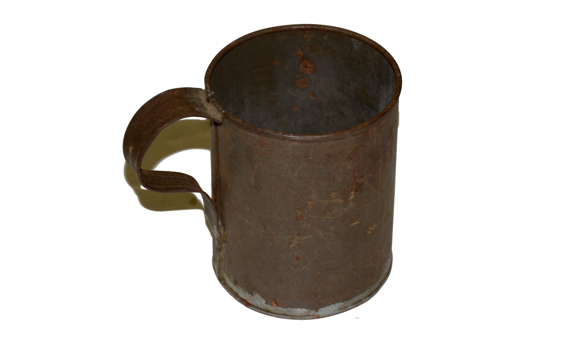 TIN CUP RECOVERED AT GETTYSBURG, FROM THE COLLECTION OF GAR POST #551 IN YORK SPRINGS