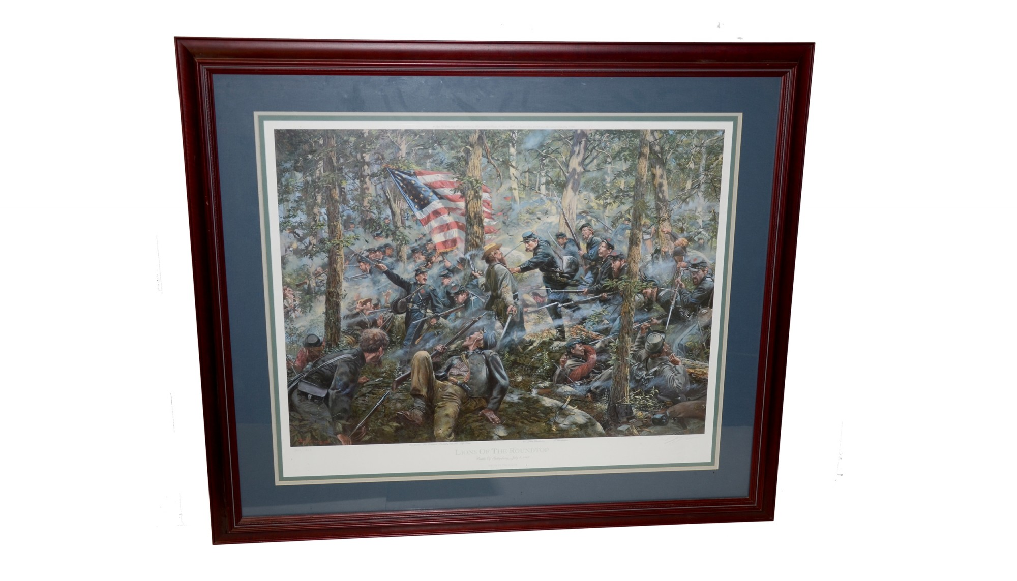 "FRAMED PRINT – ""LIONS OF THE ROUND TOP"", BATTLE OF GETTYSBURG, JULY 2, 1863, BY DON TROIANI"