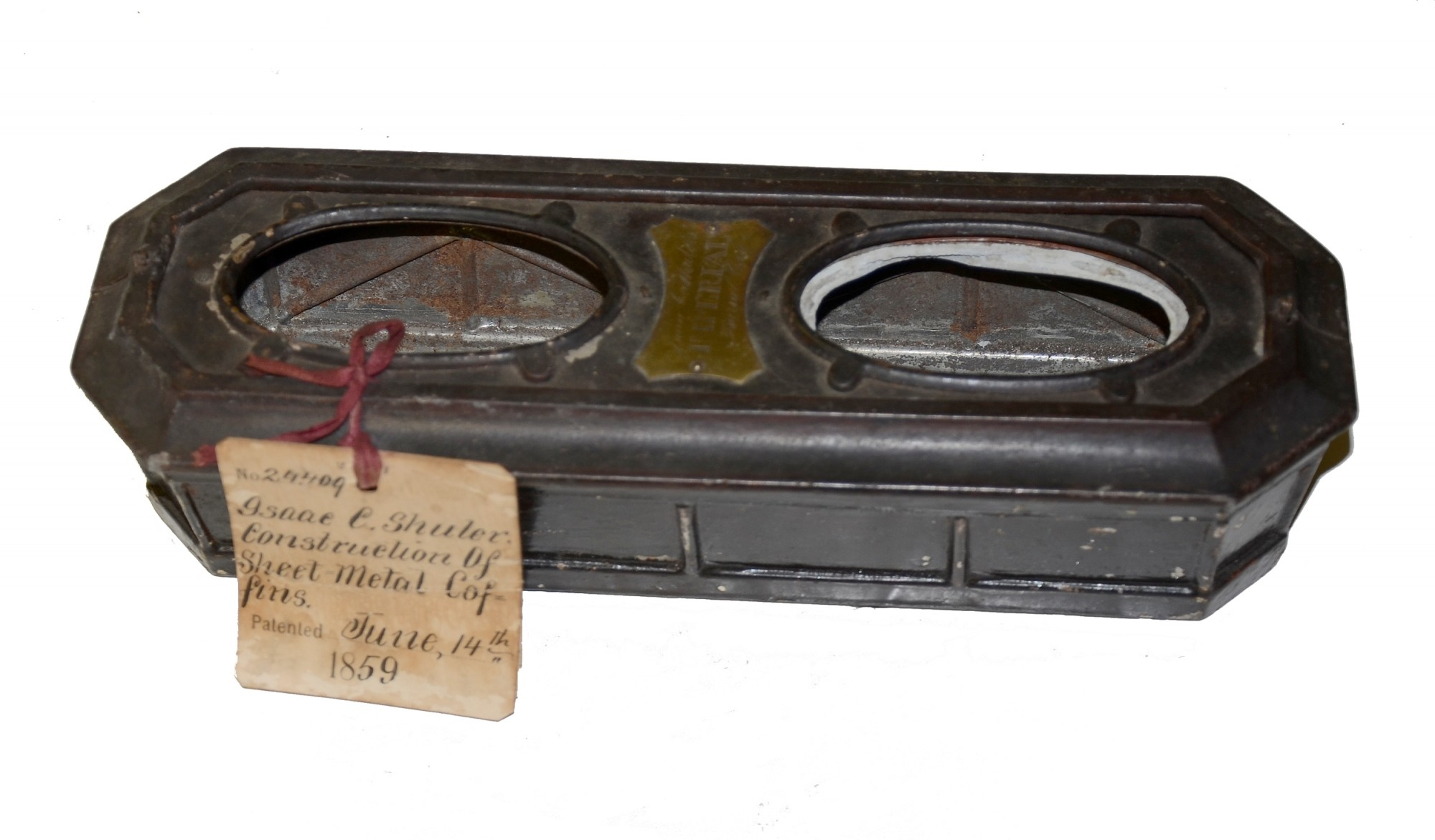 COFFIN MODEL BY ISAAC C. SHULER, DATED 1859