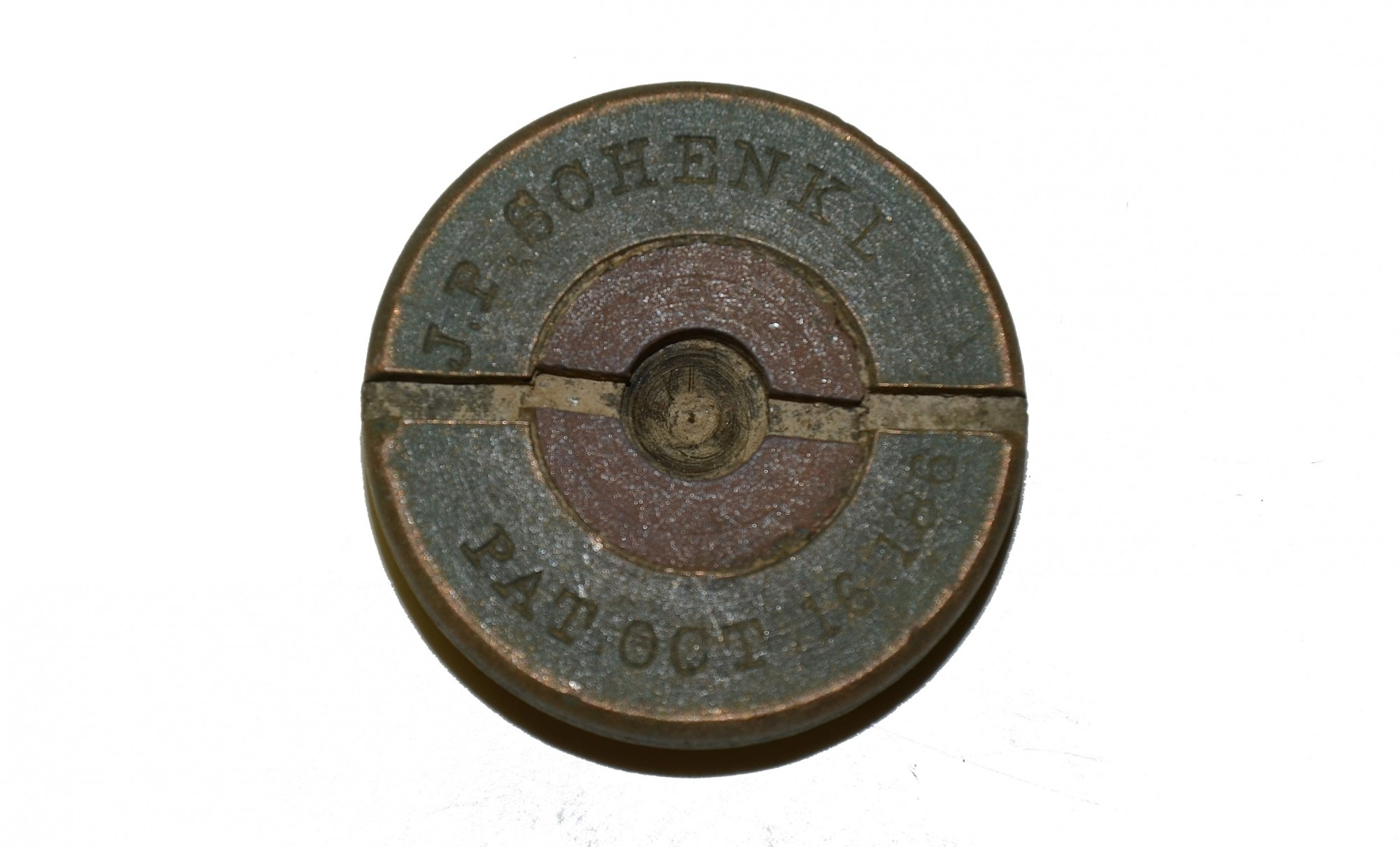 TOP SECTION SCHENKL PERCUSSION FUSE RECOVERED AT THE ROSE FARM, GETTYSBURG