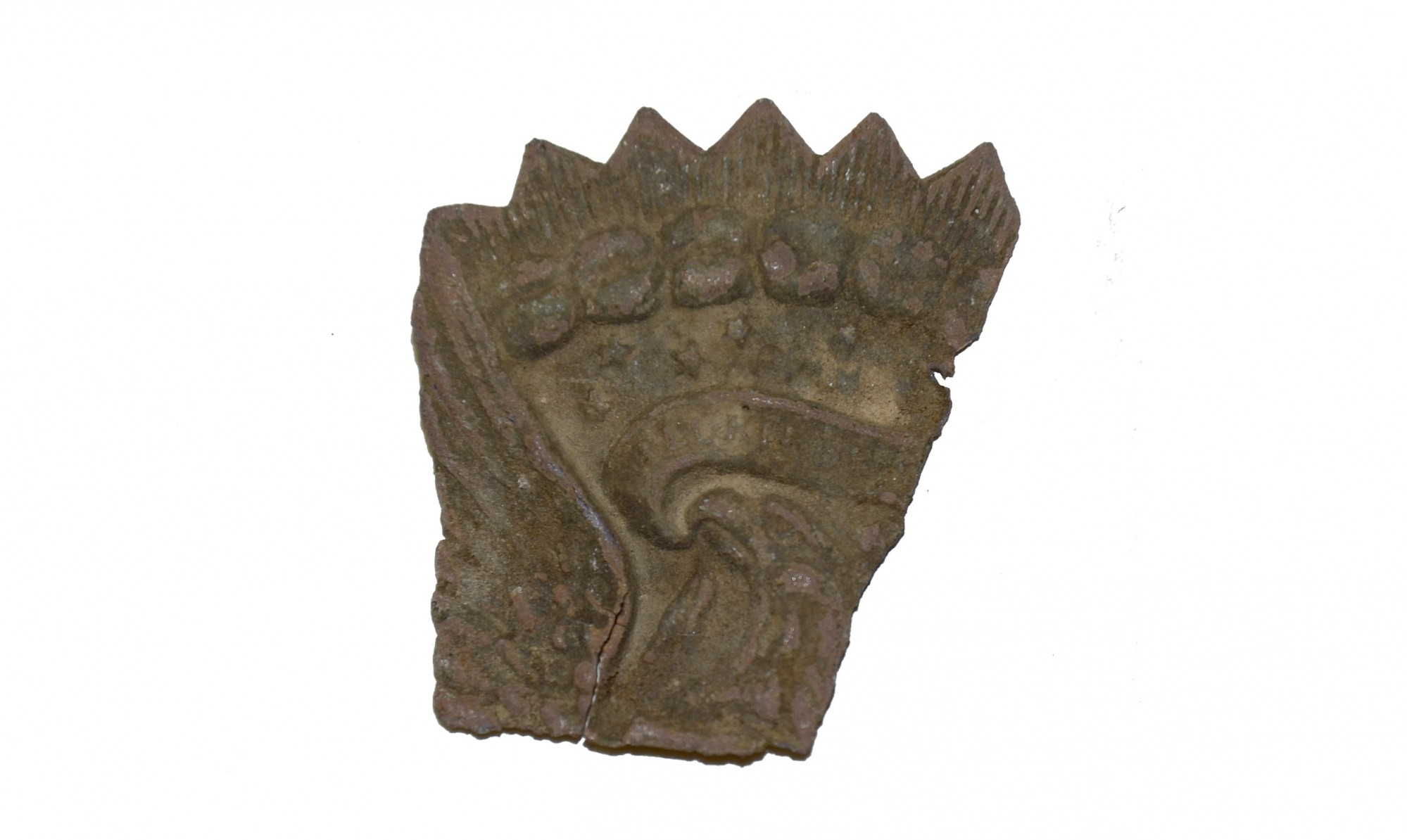 SECTION OF JEFF DAVIS HAT INSIGNIA RECOVERED AT THE SHERFY FARM, GETTYSBURG