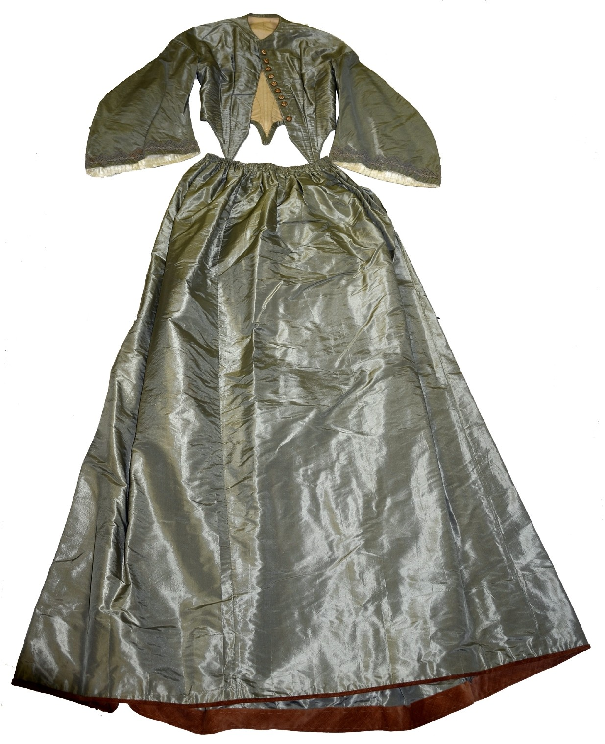 CELERY GREEN SILK TAFFETA BODICE AND SKIRT C. 1862-1864