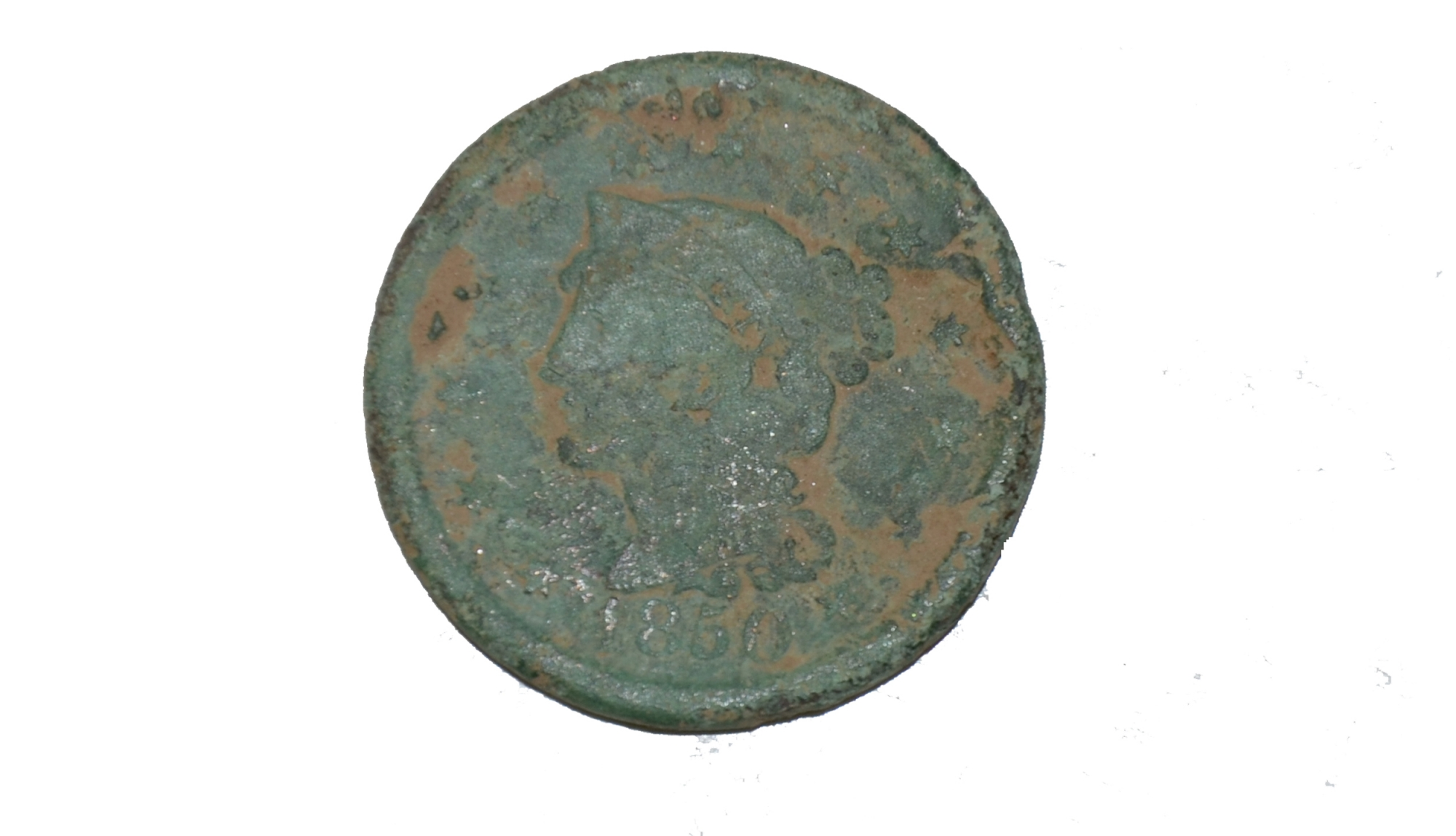 LADY LIBERTY PENNY, DATED 1850, RECOVERED FROM ROSE FARM, GETTYSBURG