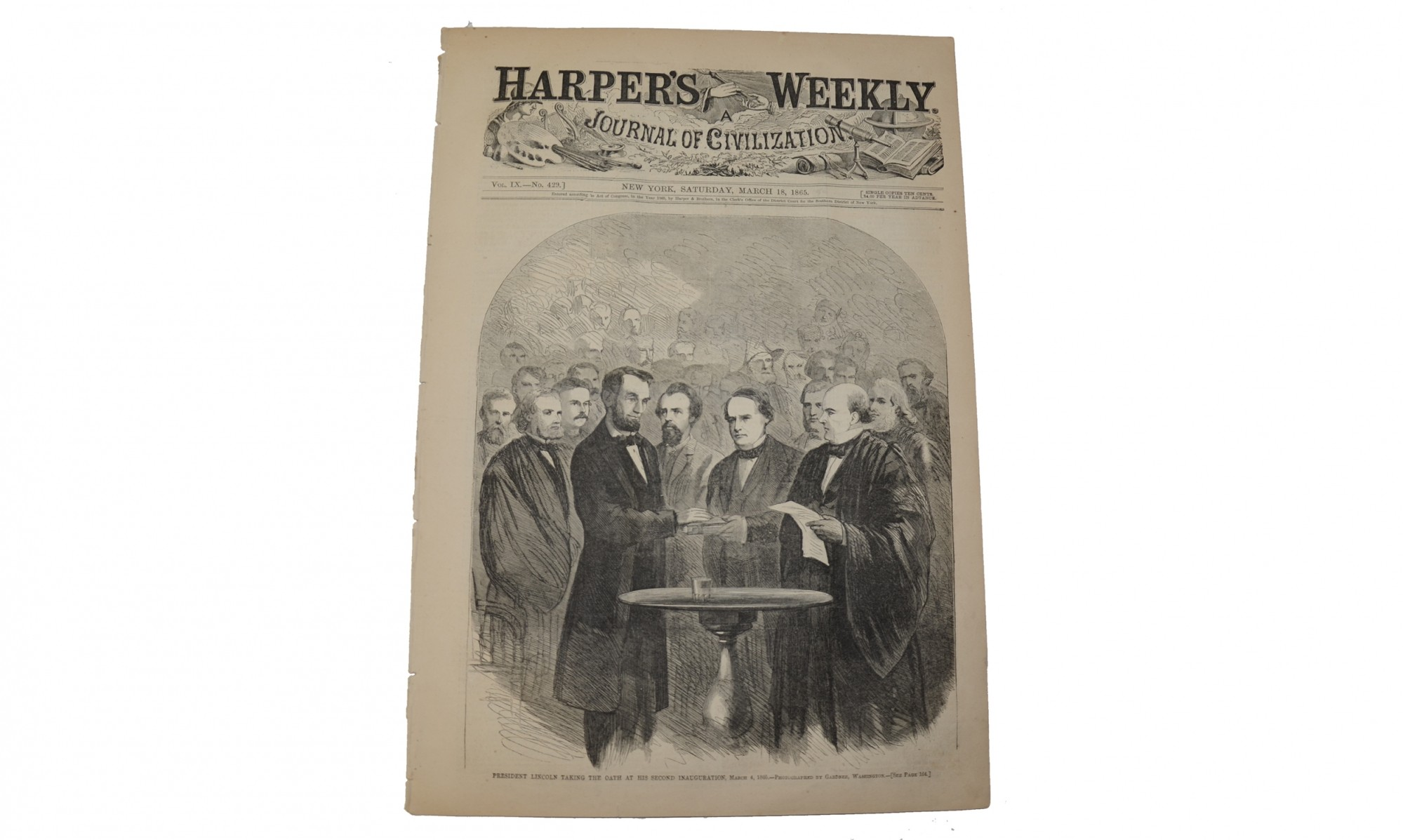 "HARPER'S WEEKLY DATED ""NEW YORK, MARCH 18, 1865"" – LINCOLN'S 2ND INAUGURAL"