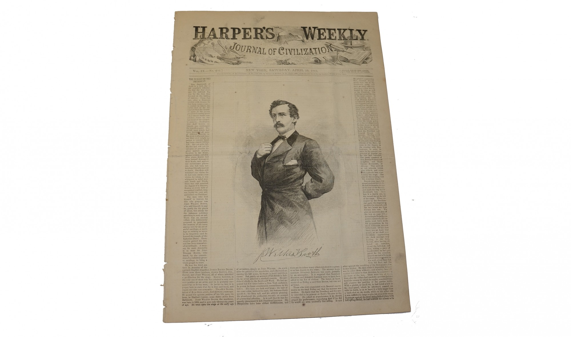 "HARPER'S WEEKLY DATED ""NEW YORK, APRIL 29, 1865""- LINCOLN ASSASSINATION"