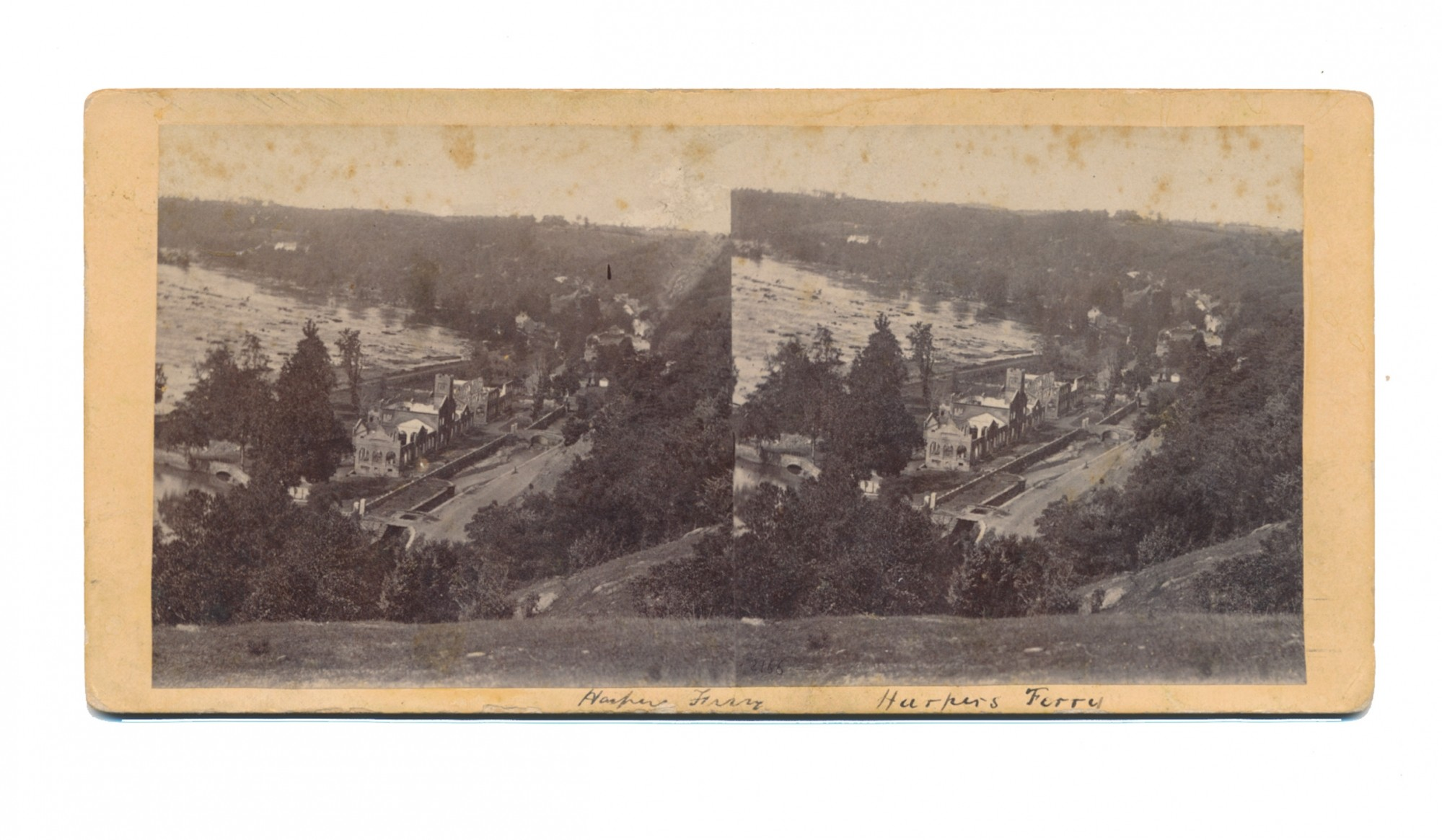 STEREOVIEW CARD OF HARPER'S FERRY DURING CIVIL WAR