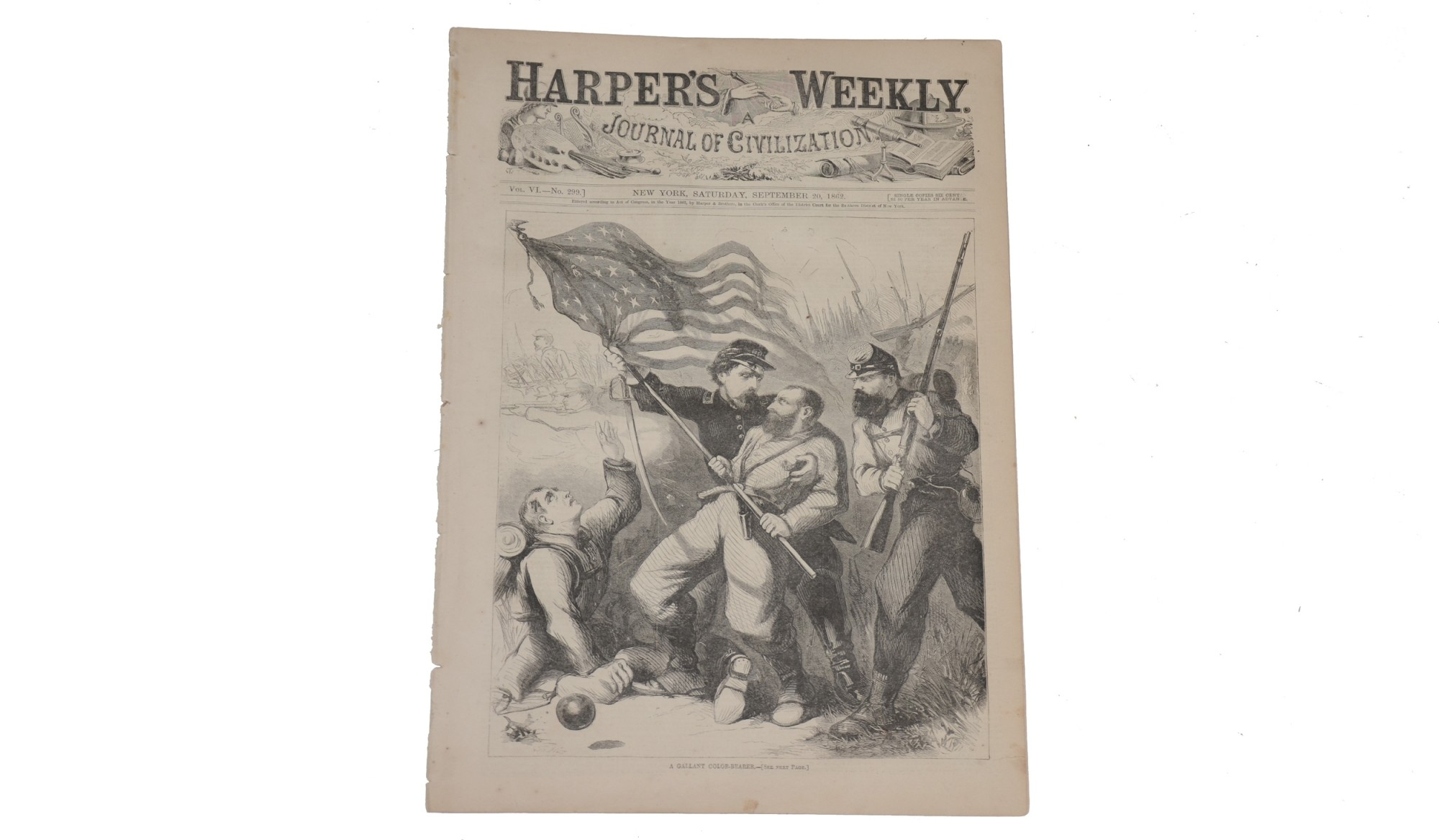 HARPER'S WEEKLY, DATED SEPTEMBER 20, 1862 - ''A GALLANT COLORBEARER""
