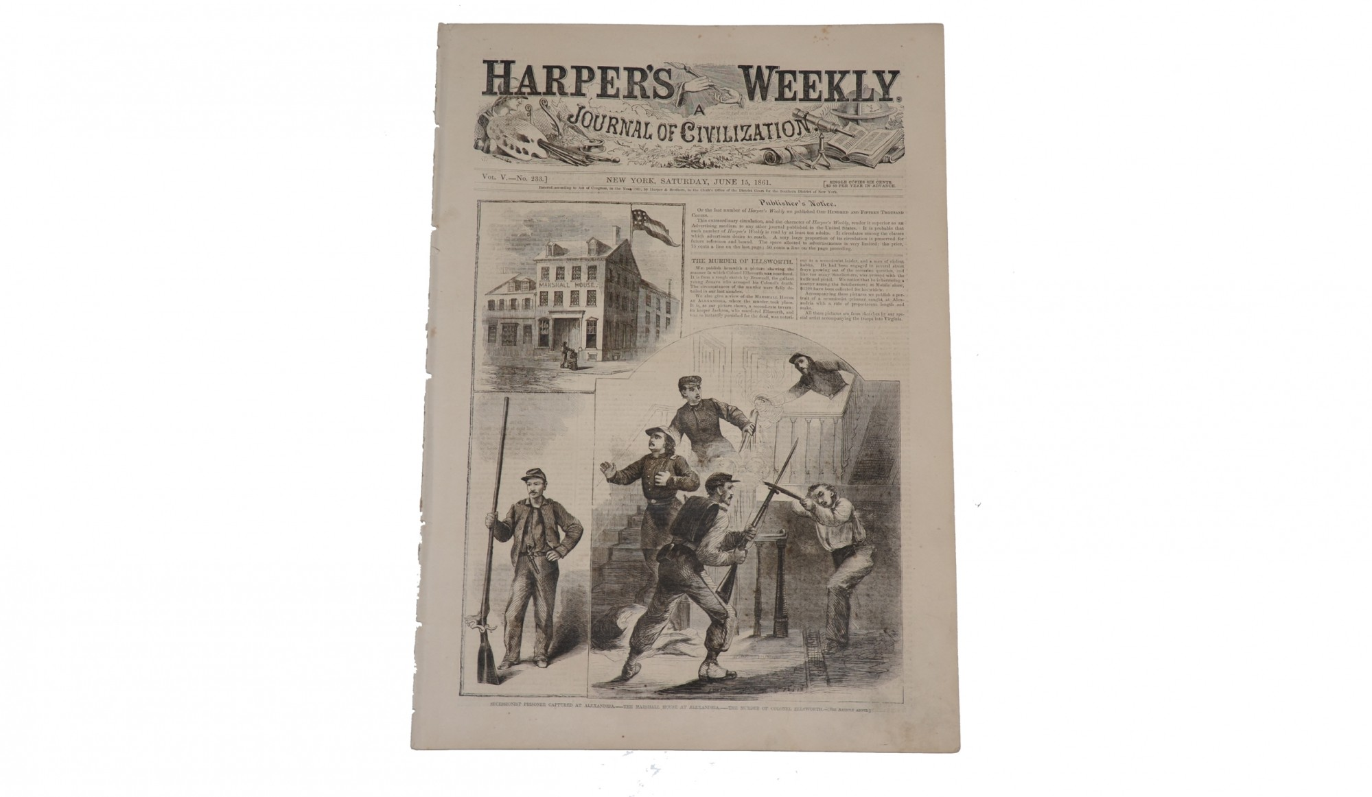 HARPER'S WEEKLY DATED JUNE 15, 1861 – COL. ELMER ELLSWORTH
