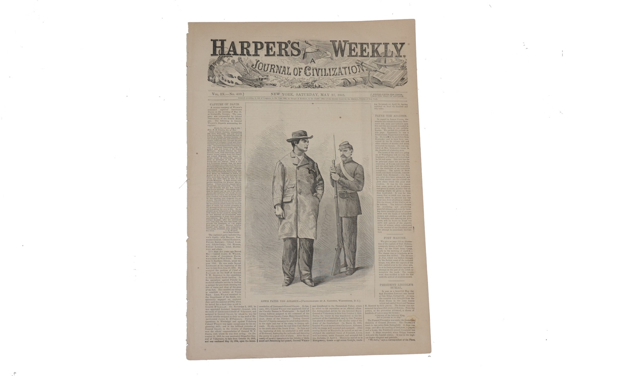 HARPER'S WEEKLY DATED MAY 27, 1865 – LINCOLN FUNERAL OBSEQUIES