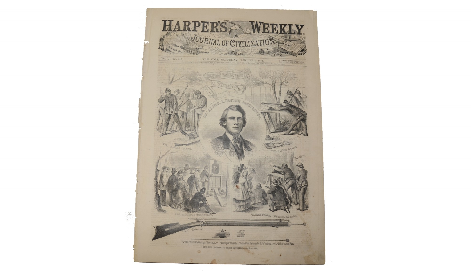 HARPER'S WEEKLY DATED OCTOBER 8, 1862 – BERDAN'S SHARPSHOOTERS
