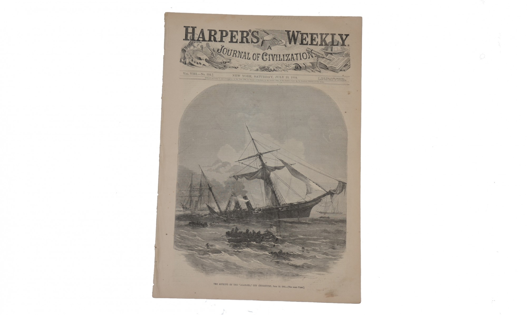 HARPER'S WEEKLY DATED JULY 23, 1864 – CSS </I>ALABAMA</I>