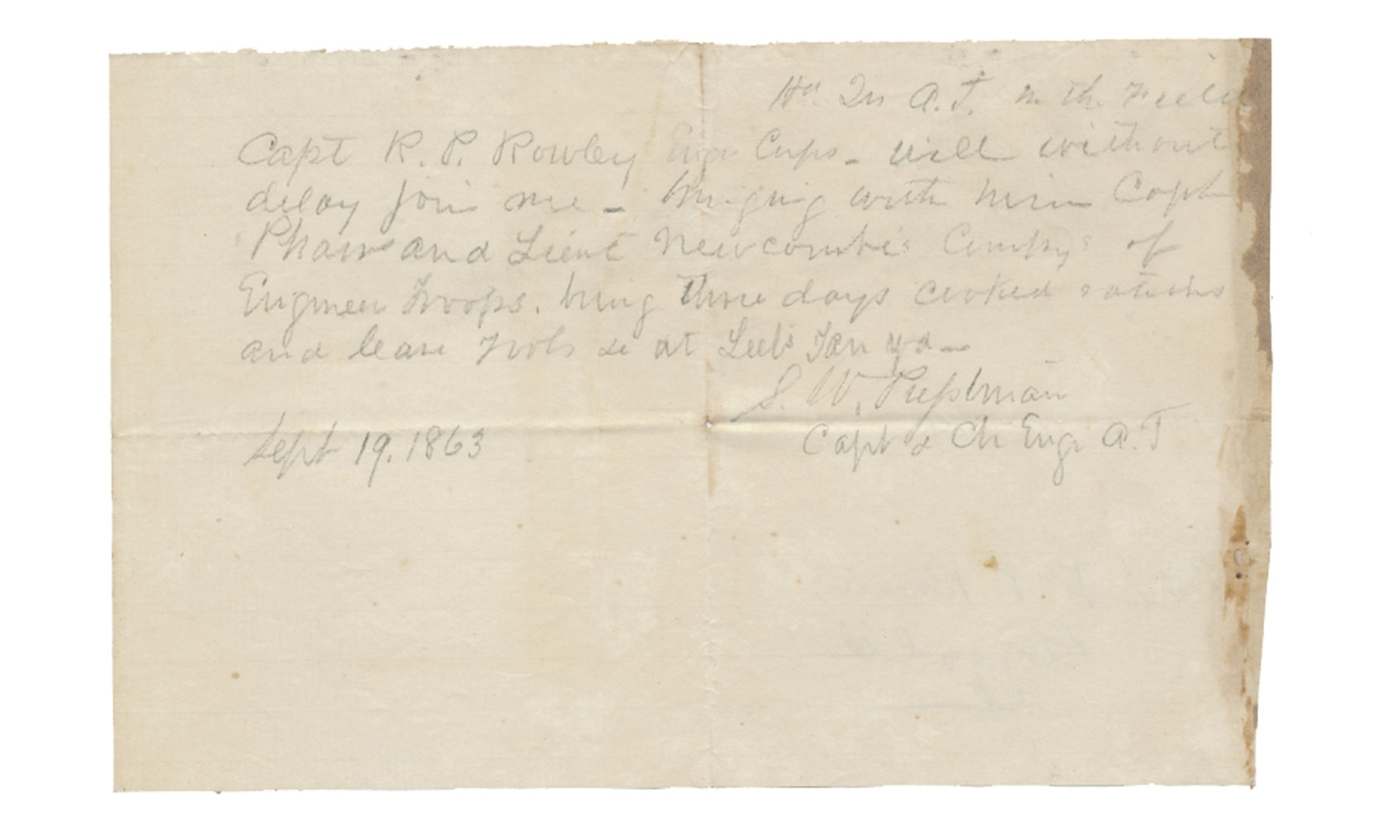 1863 CONFEDERATE CORPS OF ENGINEERING NOTE WRITTEN BY CAPT. STEPHEN W. PRESSTMAN