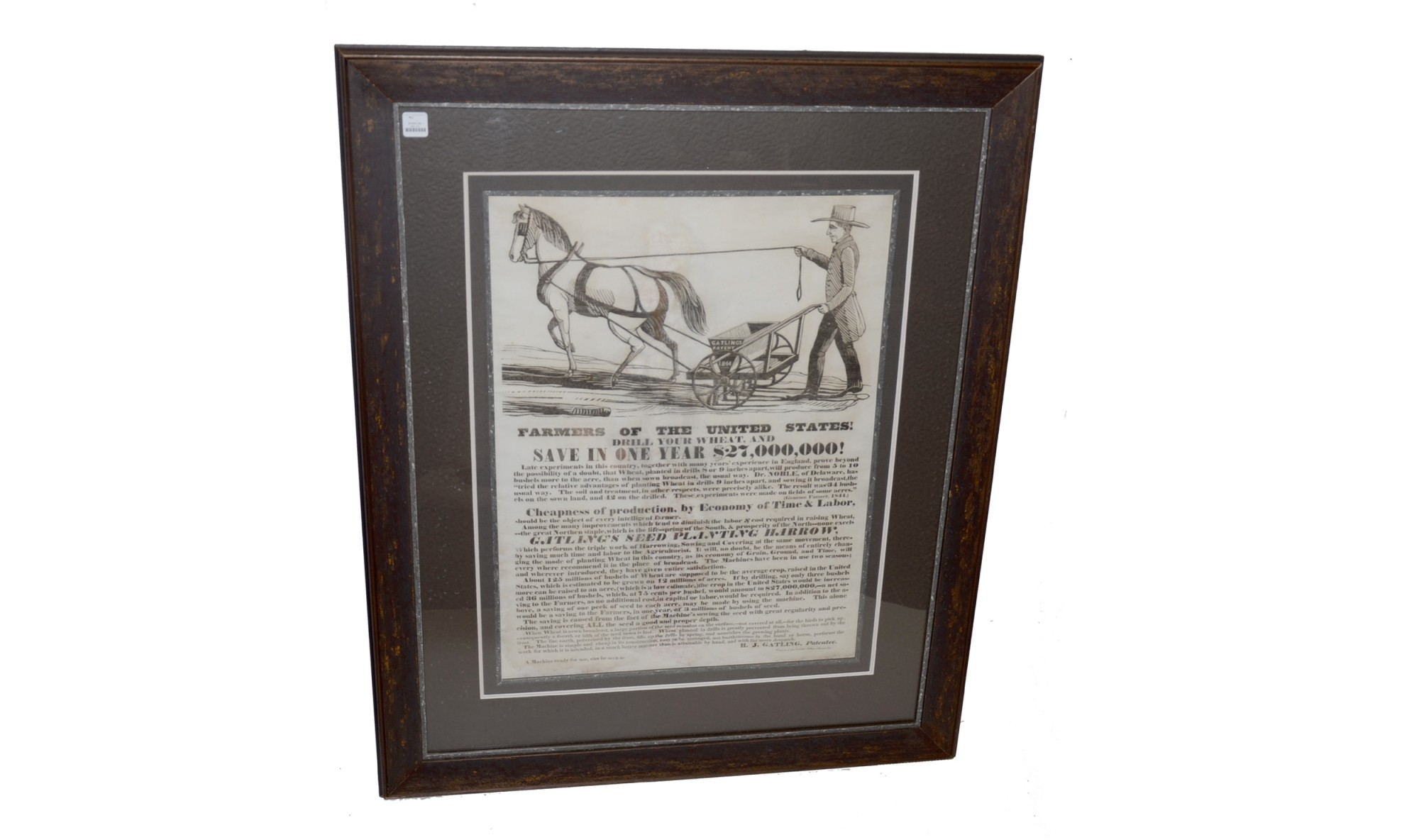 WONDERFUL 1844 GATLING ADVERTISING BROADSIDE