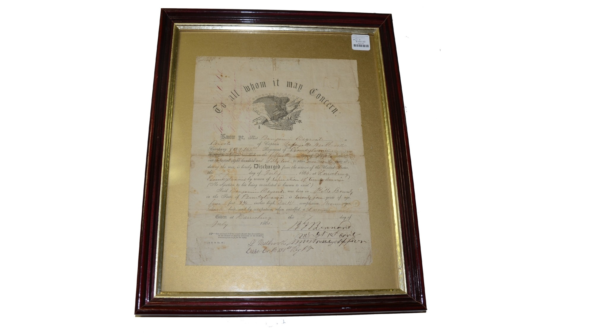 FRAMED DISCHARGE FOR 151ST PENNSYLVANIA SOLDIER