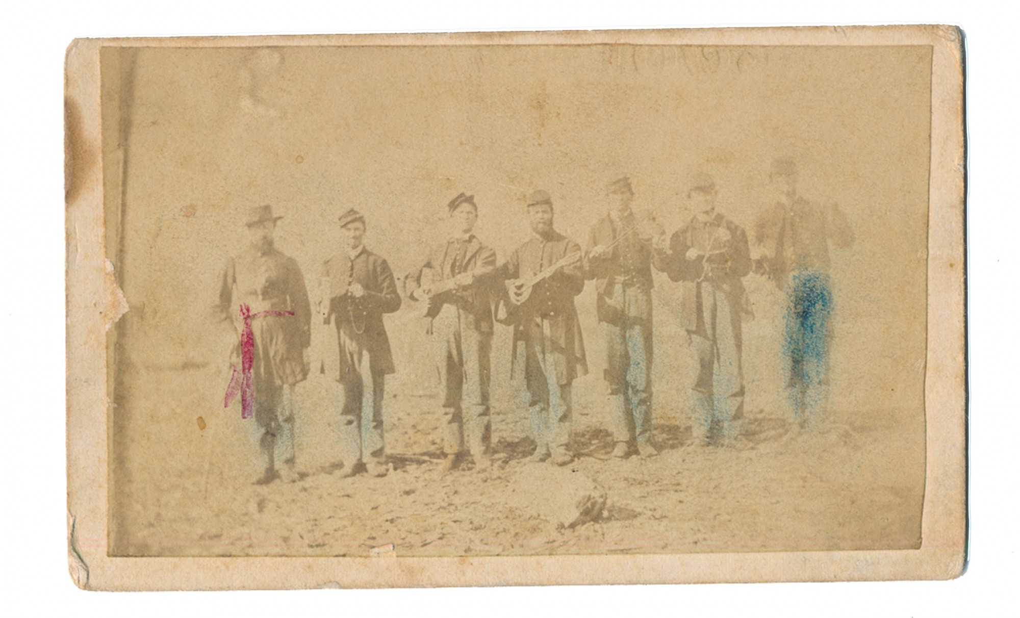 OUTDOOR CDV OF SEVEN 99TH OHIO MINSTRELS