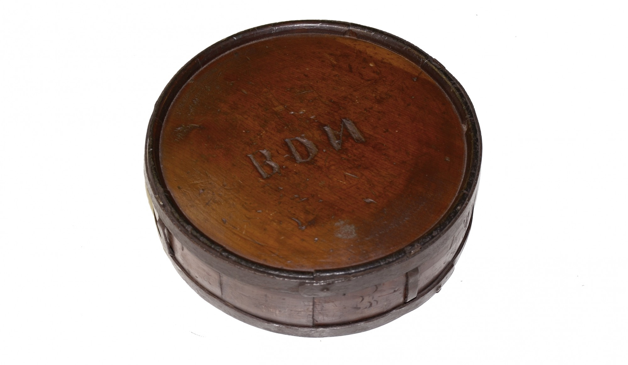 "ORIGINAL CONFEDERATE WOOD DRUM CANTEEN WITH SOLDIER'S INITIALS ""B.D.N."""