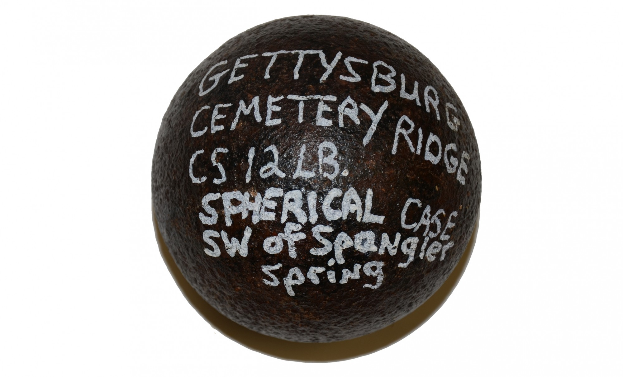 "CS 4.52"" 12 POUND SPHERICAL SHELL FOUND AT GETTYSBURG"